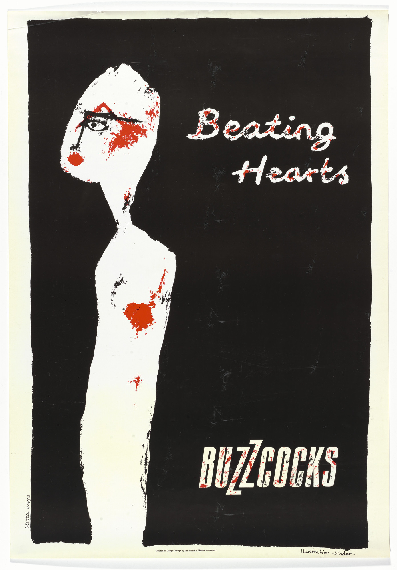 Linder [Linda Sterling]. Buzzcocks, Beating Hearts (Poster for Beating Hearts tour). c.1979