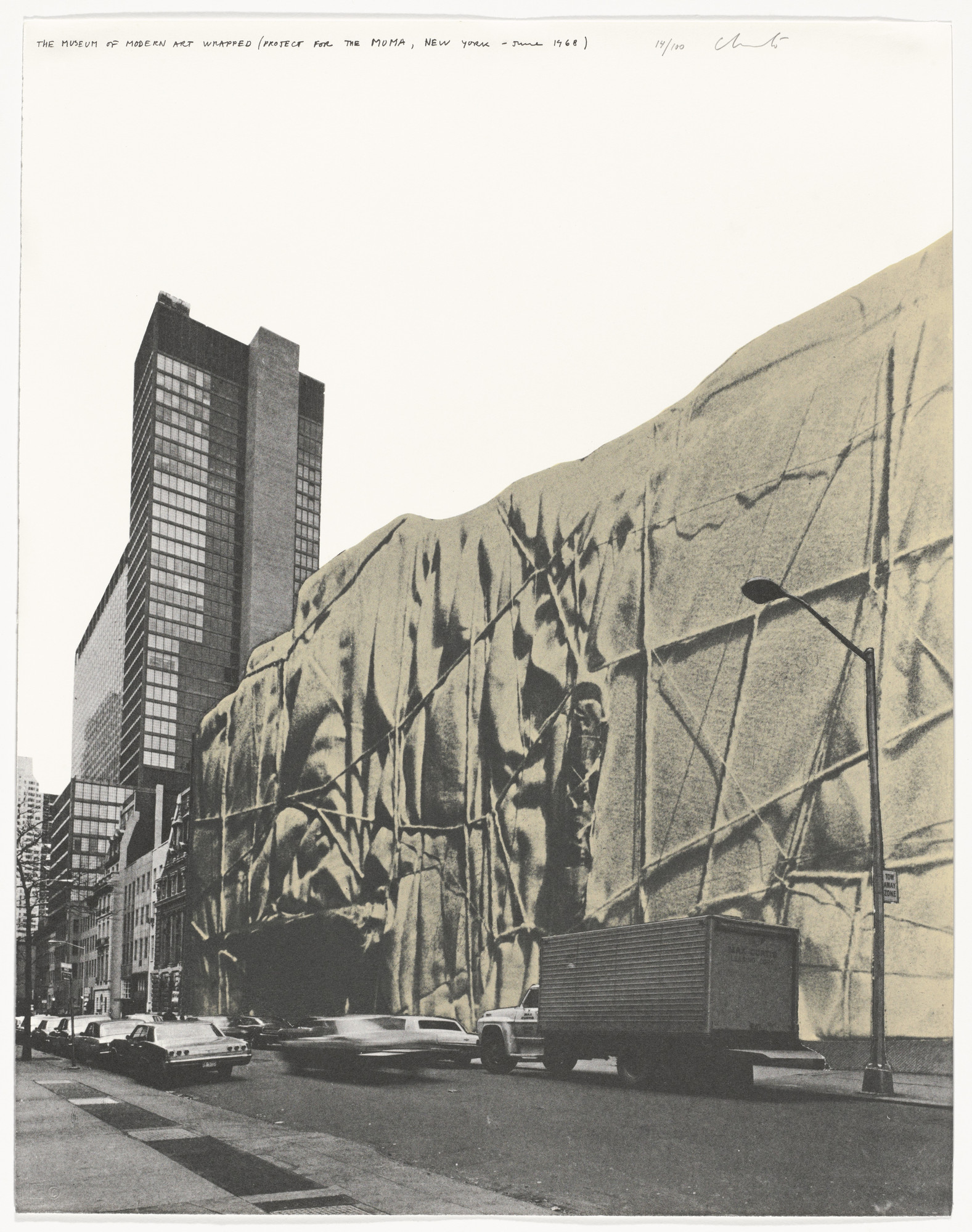 Christo. The Museum of Modern Art, Wrapped (Front), Project for New York from the portfolio (Some) Not Realized Projects. April 9 and September 27, 1971