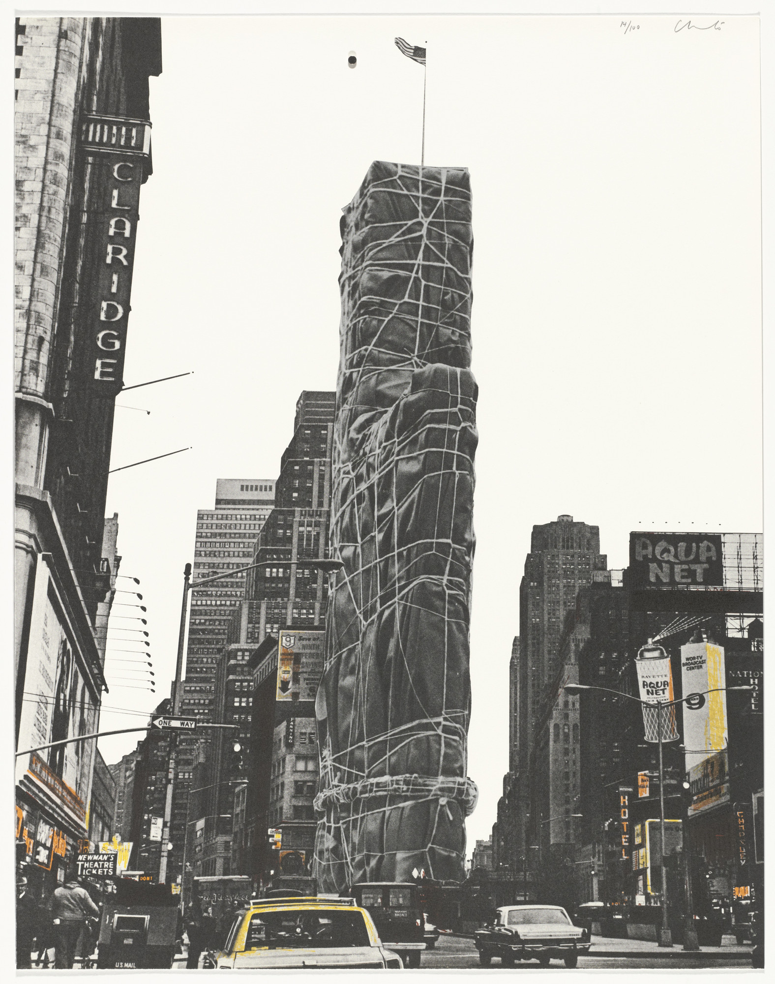 Christo. Allied Chemical Tower, Packed, Project for Number 1, Times Square, New York from the portfolio (Some) Not Realized Projects. (April 9 and August 31, 1971)