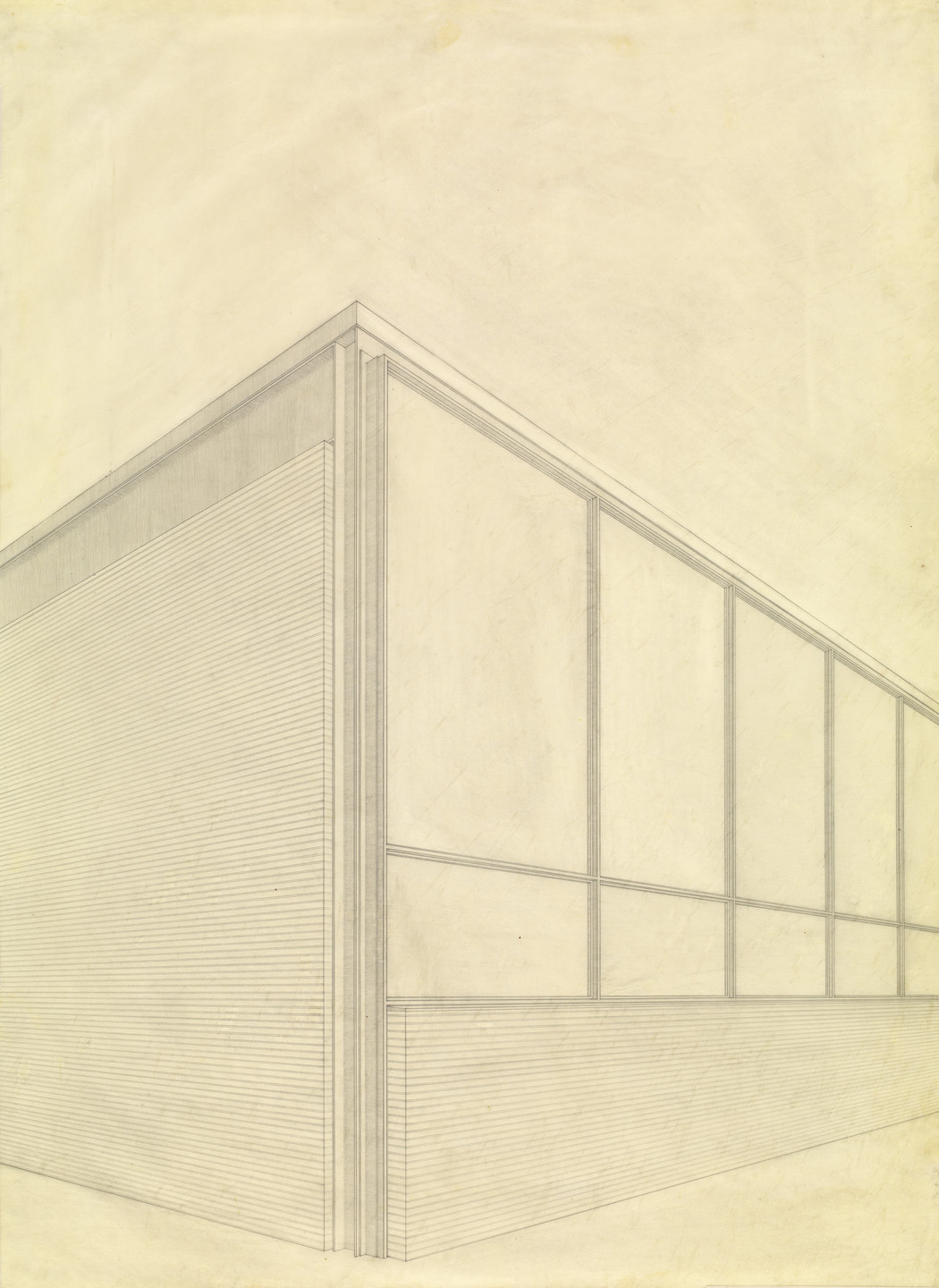 Ludwig Mies van der Rohe. IIT Library and Administration Building, Chicago, Illinois, Perspective for southeast corner. c. 1944-45