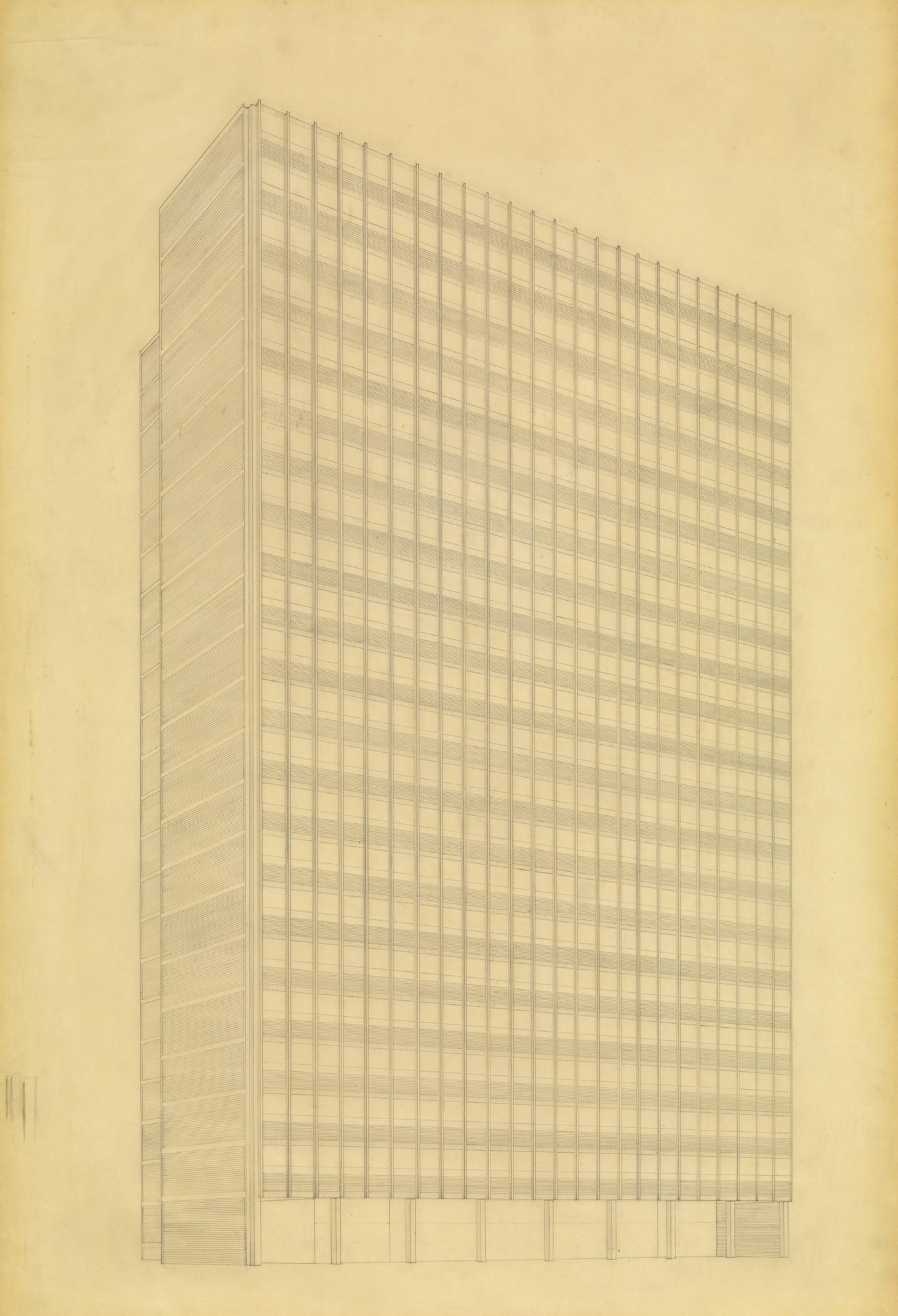 Ludwig Mies Van Der Rohe Promontory Apartment Building Chicago Illinois Perspective From Southeast 1946