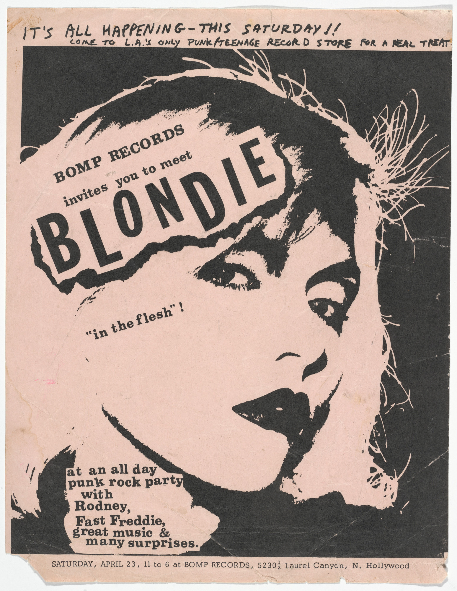 Unknown Designer. Blondie (Flyer for a punk rock party sponsored by Bump Records, Hollywood). 1977 | MoMA