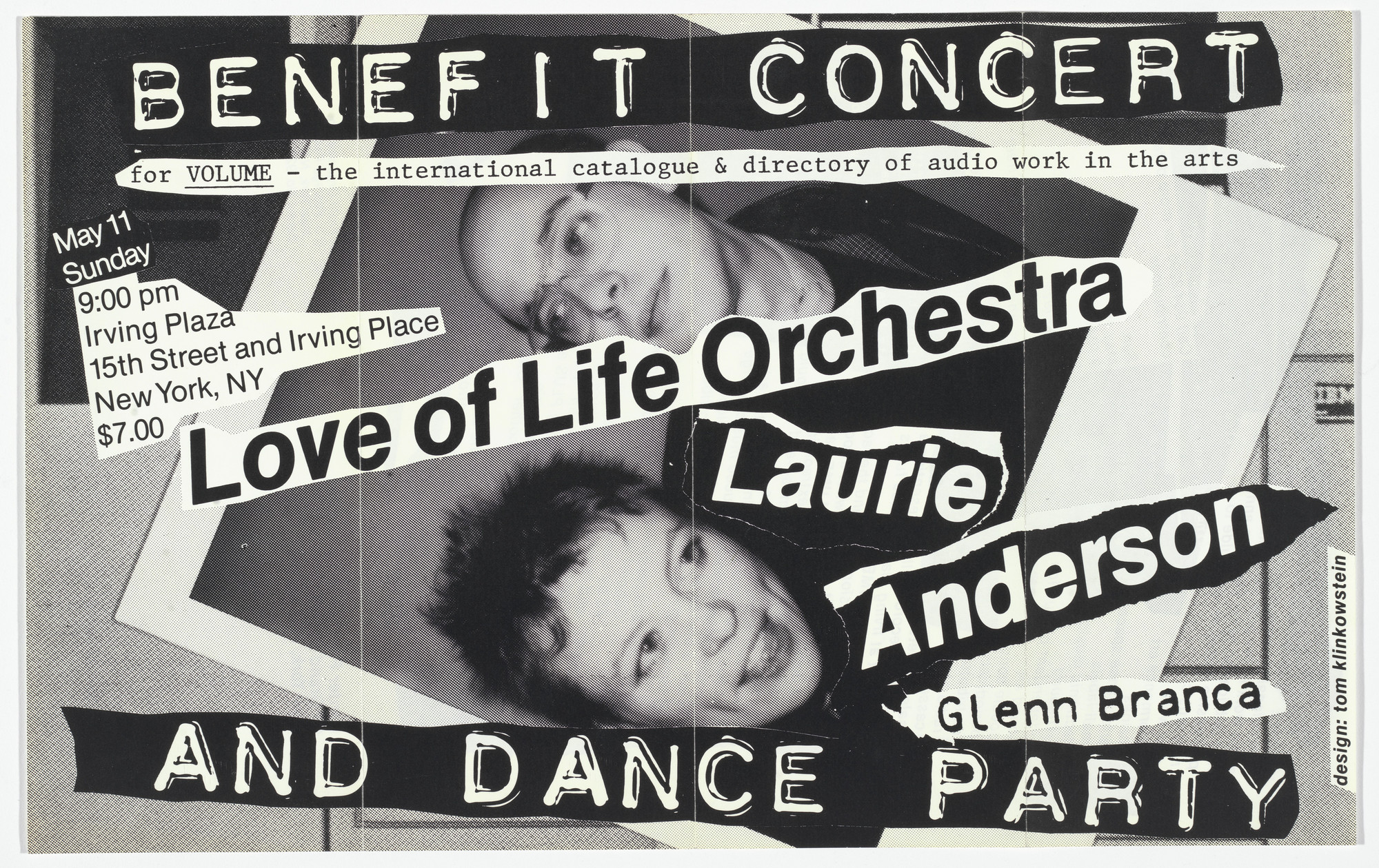 Thomas Klinkowstein. Love of Life Orchestra, Laurie Anderson and Glenn Branca (Poster for benefit concert and dance party). 1980