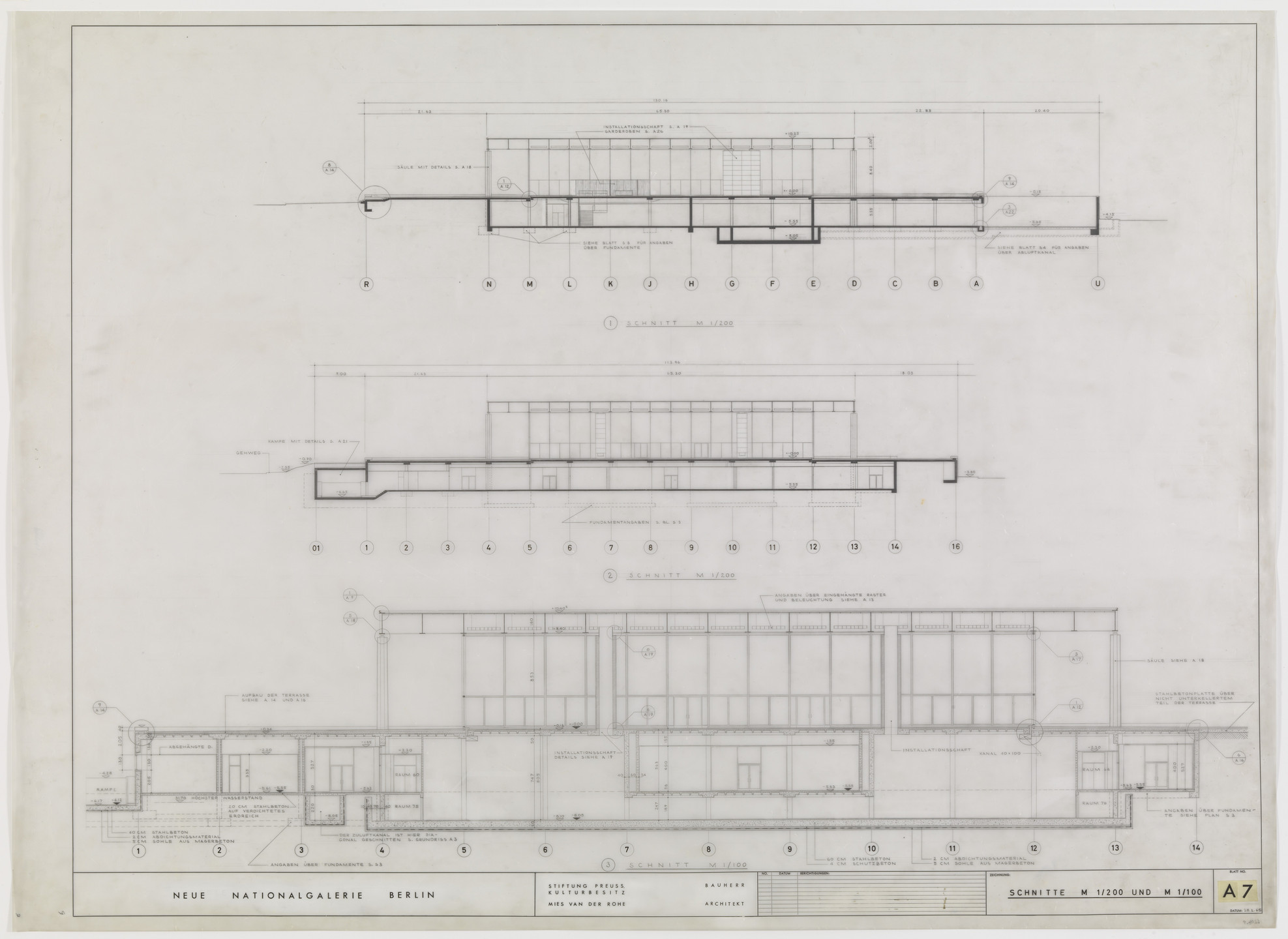 Ludwig Mies van der Rohe. New National Gallery, Berlin, Germany (Sections). 1967