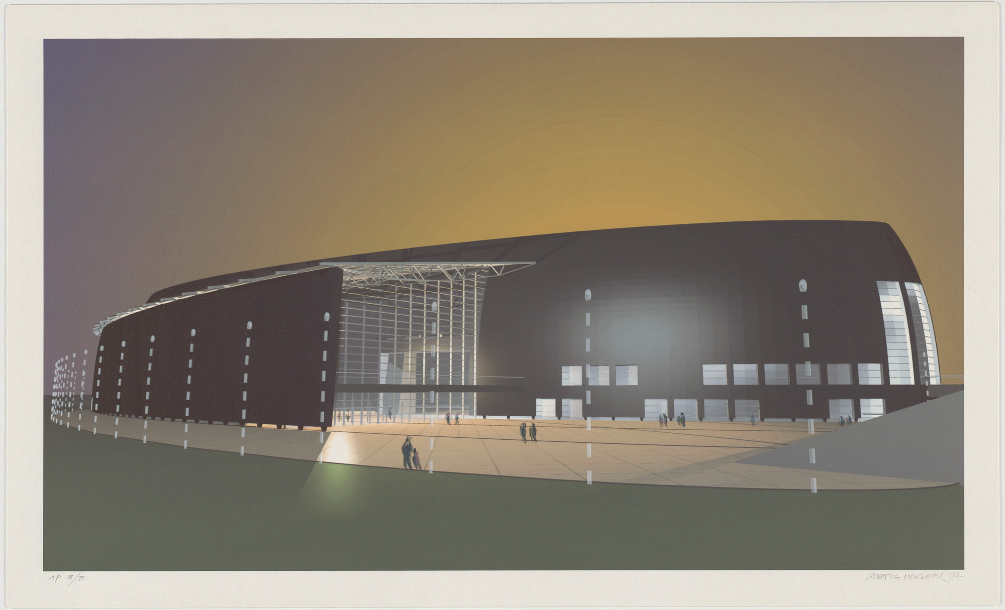 Arata Isozaki. Nara Convention Hall, Nara, Japan, Exterior perspective. 1992
