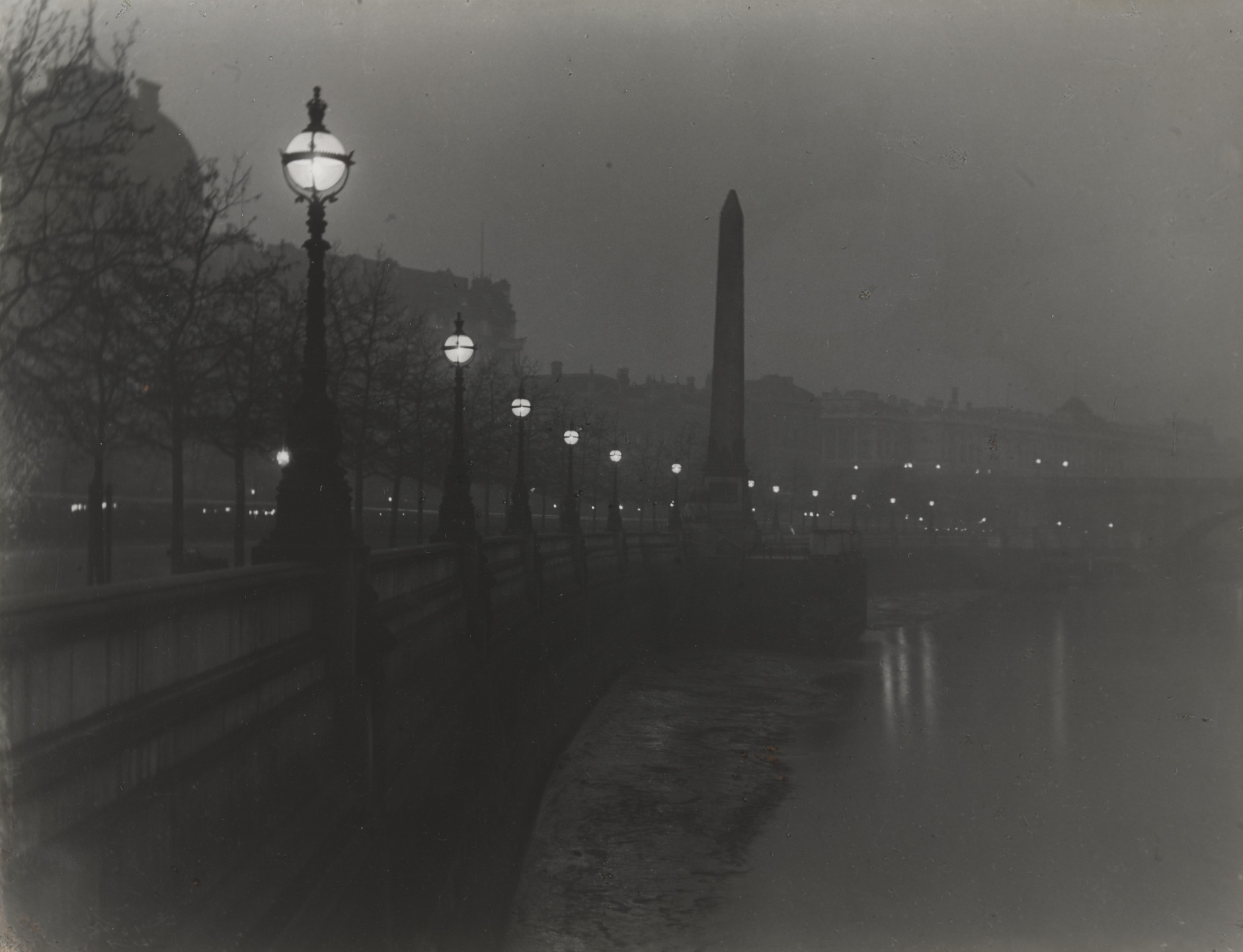 Paul Martin. Cleopatra's Needle and the Thames Embankment by Gas-Light. c. 1890-1896