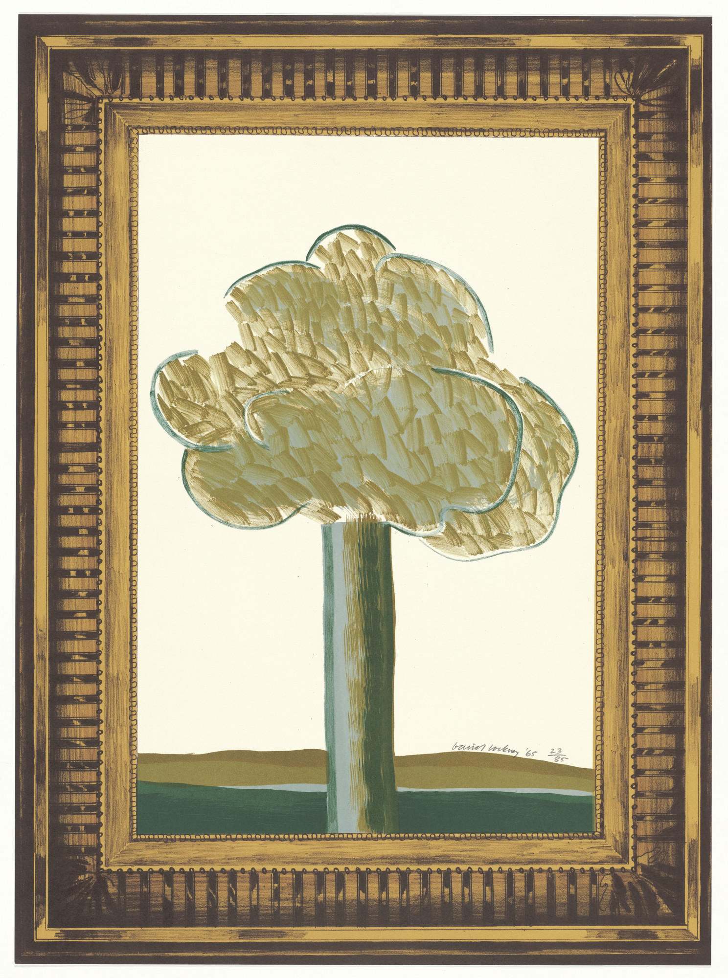 David Hockney. Picture of a Landscape in an Elaborate Gold Frame from A Hollywood Collection. 1965