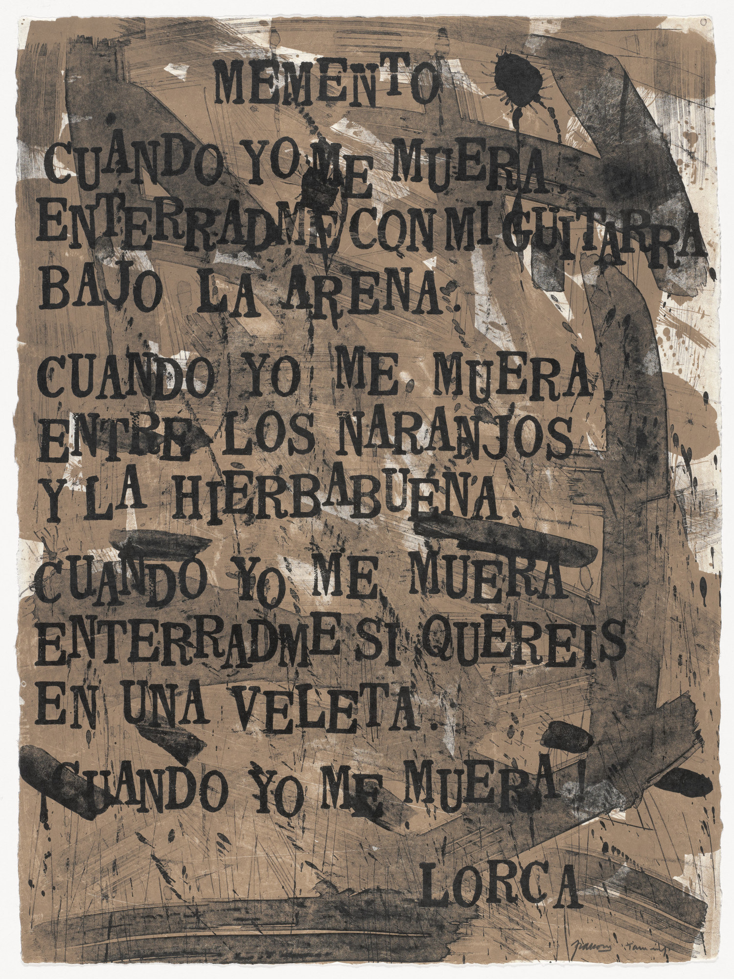 Antonio Frasconi. Memento (in-text plate, folio 15) from Oda a Lorca. 1962