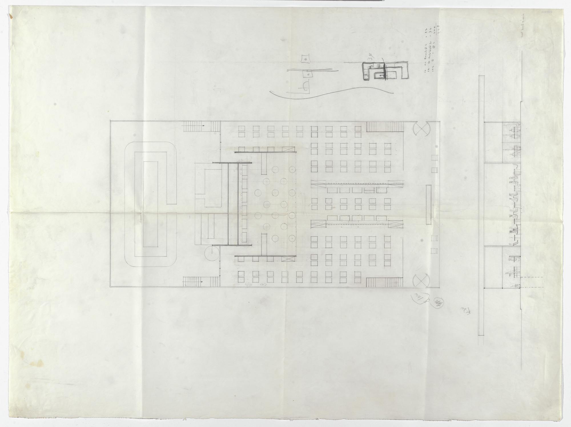 Ludwig Mies Van Der Rohe Cantor Drive In Restaurant Indianapolis Schematic Floor Plan And Elevation With Seating Layout C 1945 50