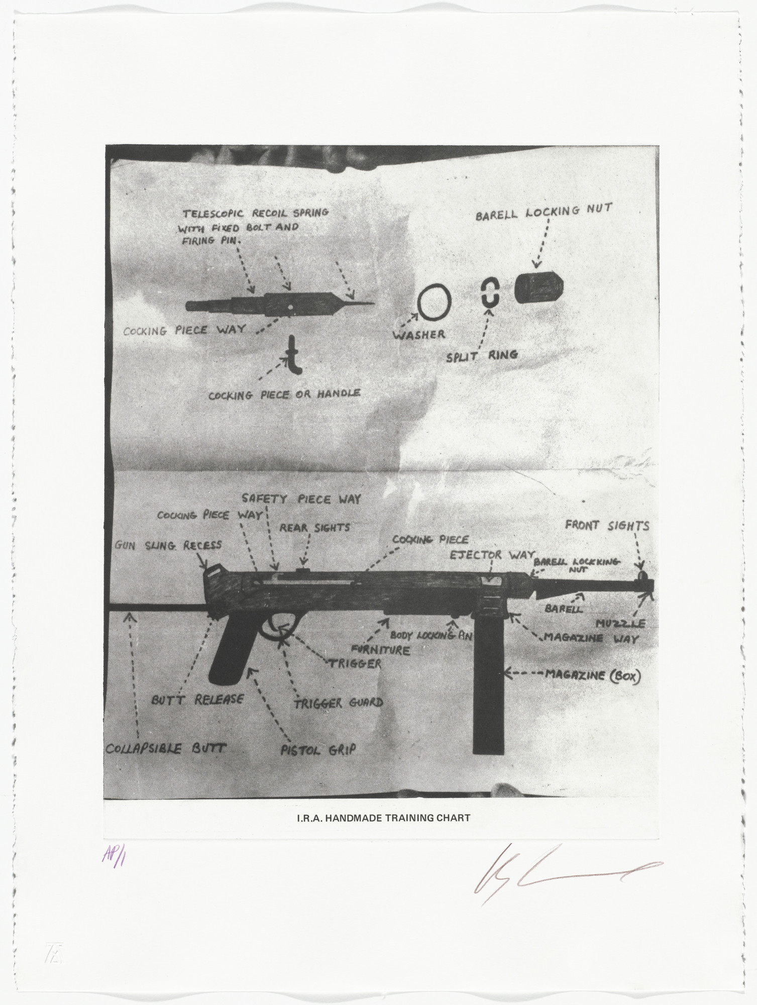 Les Levine. I.R.A. Handmade Training Chart from the series The Troubles. 1977