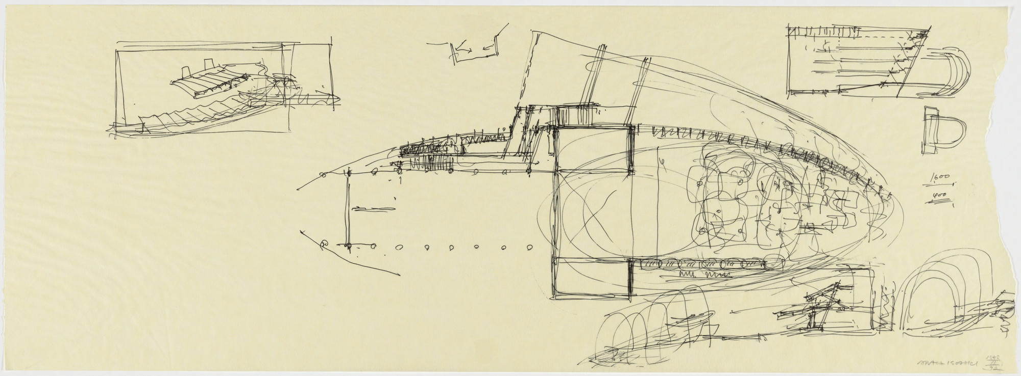 Arata Isozaki. Nara Convention Hall, Nara, Japan, Sketches of main hall. 1992