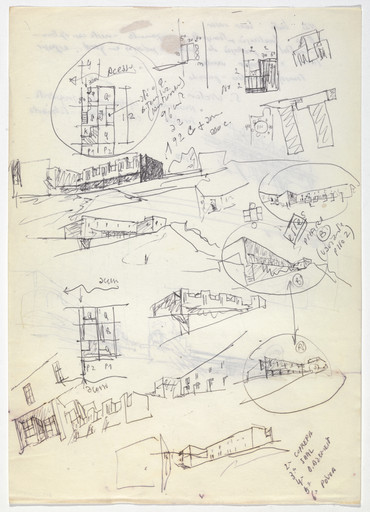 Álvaro Siza. SAAL S. Victor Social Housing, Porto, Portugal (recto), SAAL Bouça Social Housing, Porto, Portugal (verso) (Plan and perspective sketches). 1974-1977