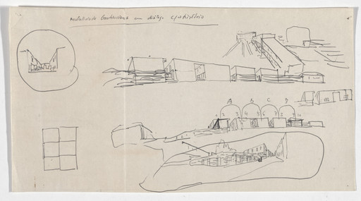 Álvaro Siza. SAAL S. Victor Social Housing, Porto, Portugal (Plan and perspective sketches). 1974-1977