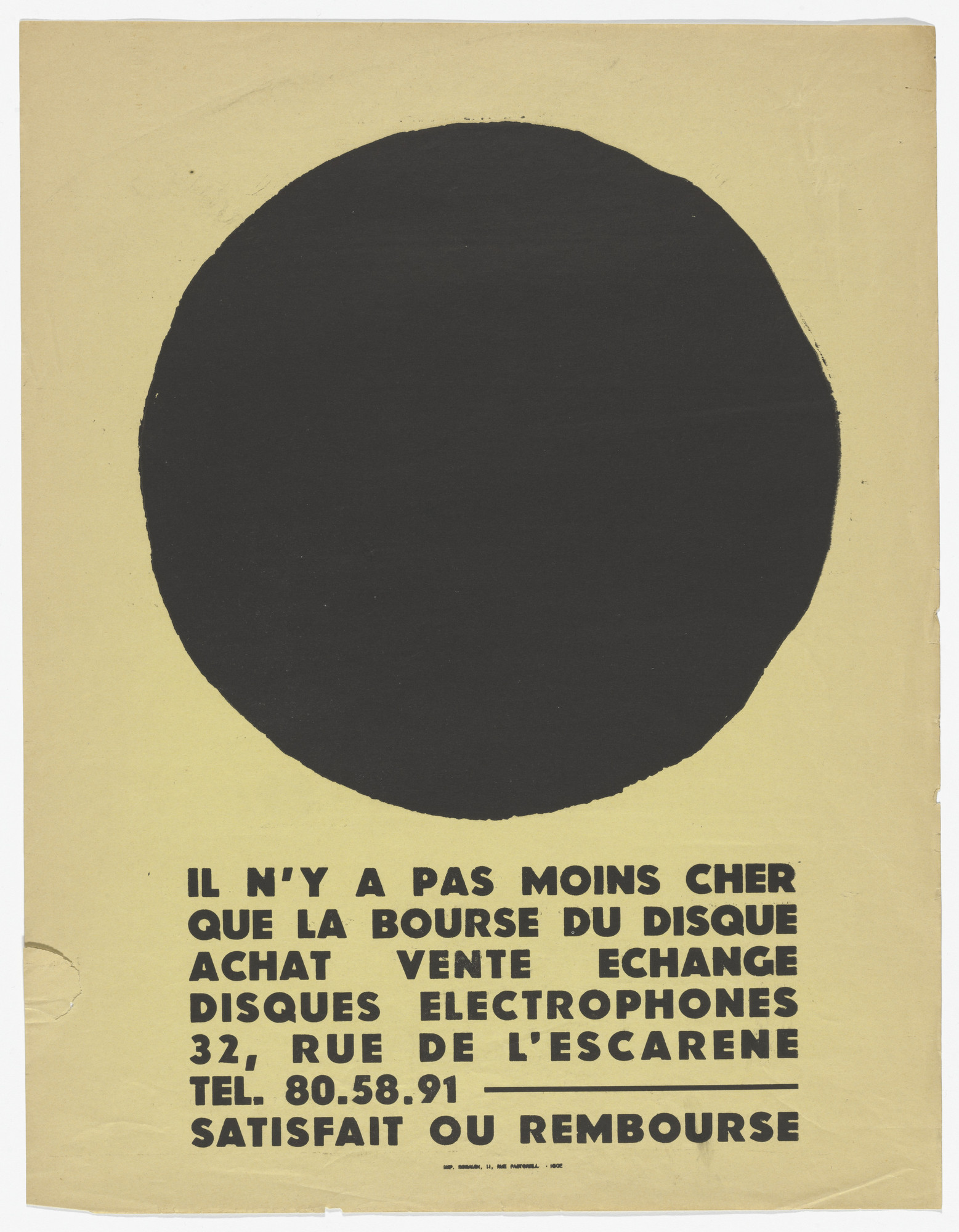 Ben Vautier. Il n'y a pas moins cher que la bourse du disque (There is nothing cheaper than the record market). c. 1958