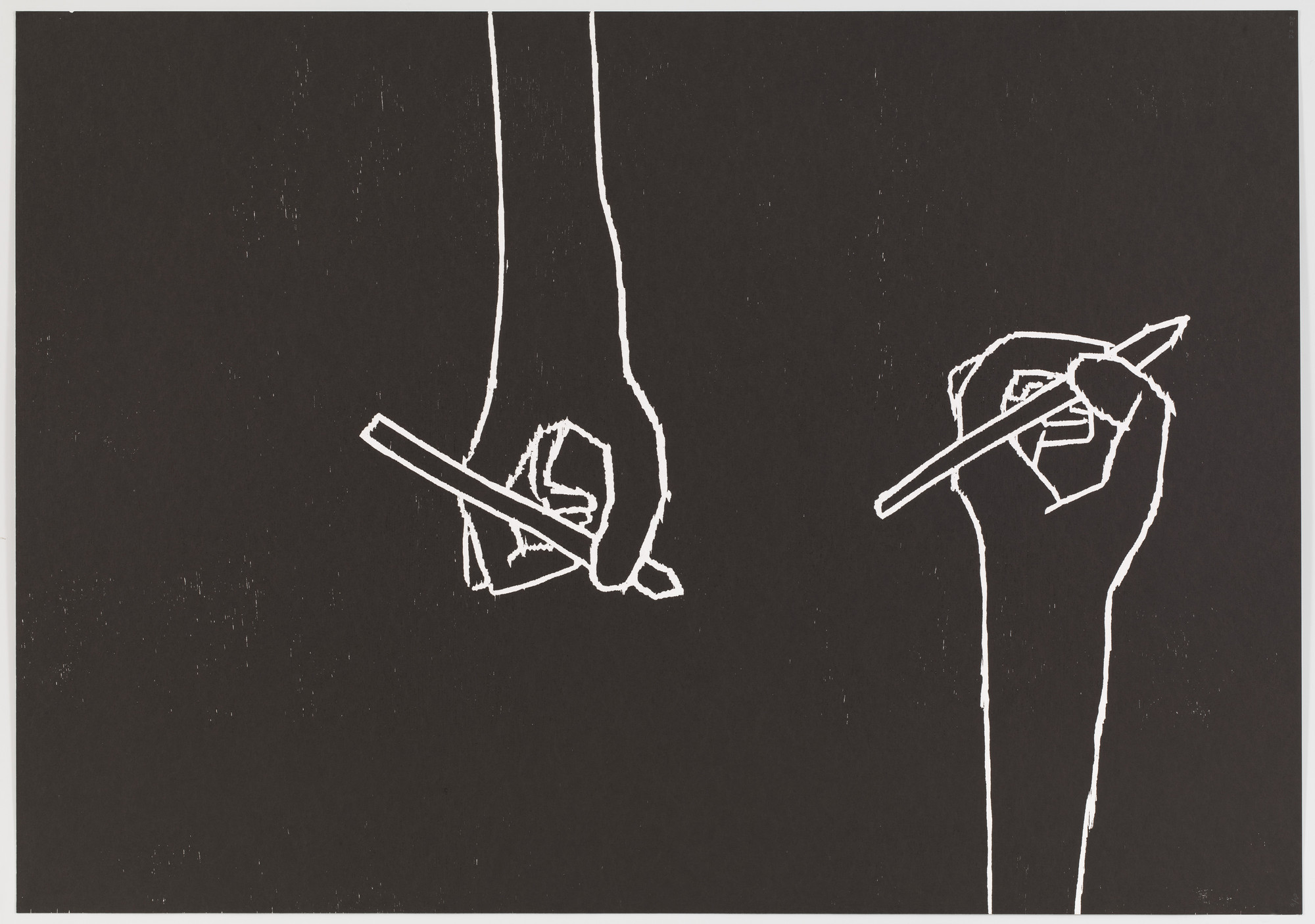 David Shrigley. Untitled (Hands writing) from an untitled portfolio. 2008