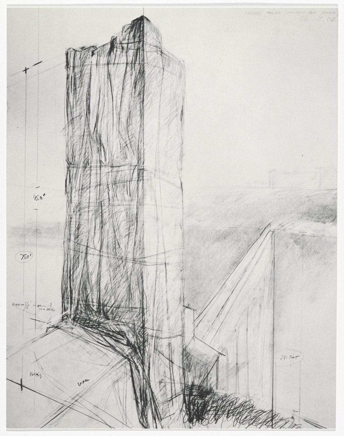 Christo. Packed Tower – Spoleto (Proposals & Projects) from Artists & Photographs. 1968, published 1970