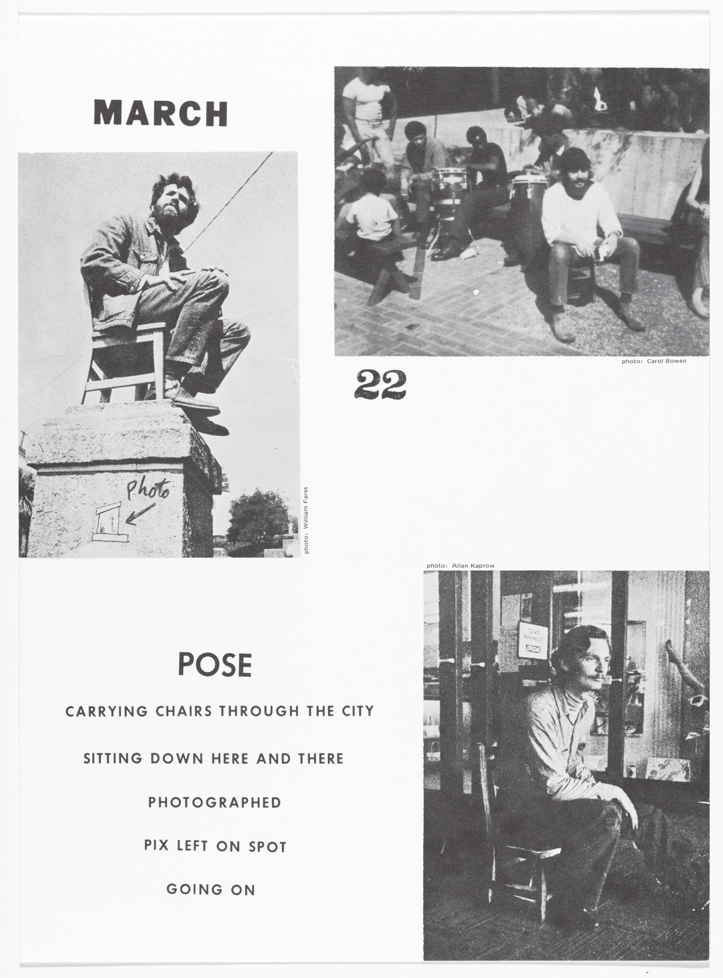 Allan Kaprow. Pose, March 22, 1969 Continued 1970 – from Artists & Photographs. 1969–70, published 1970