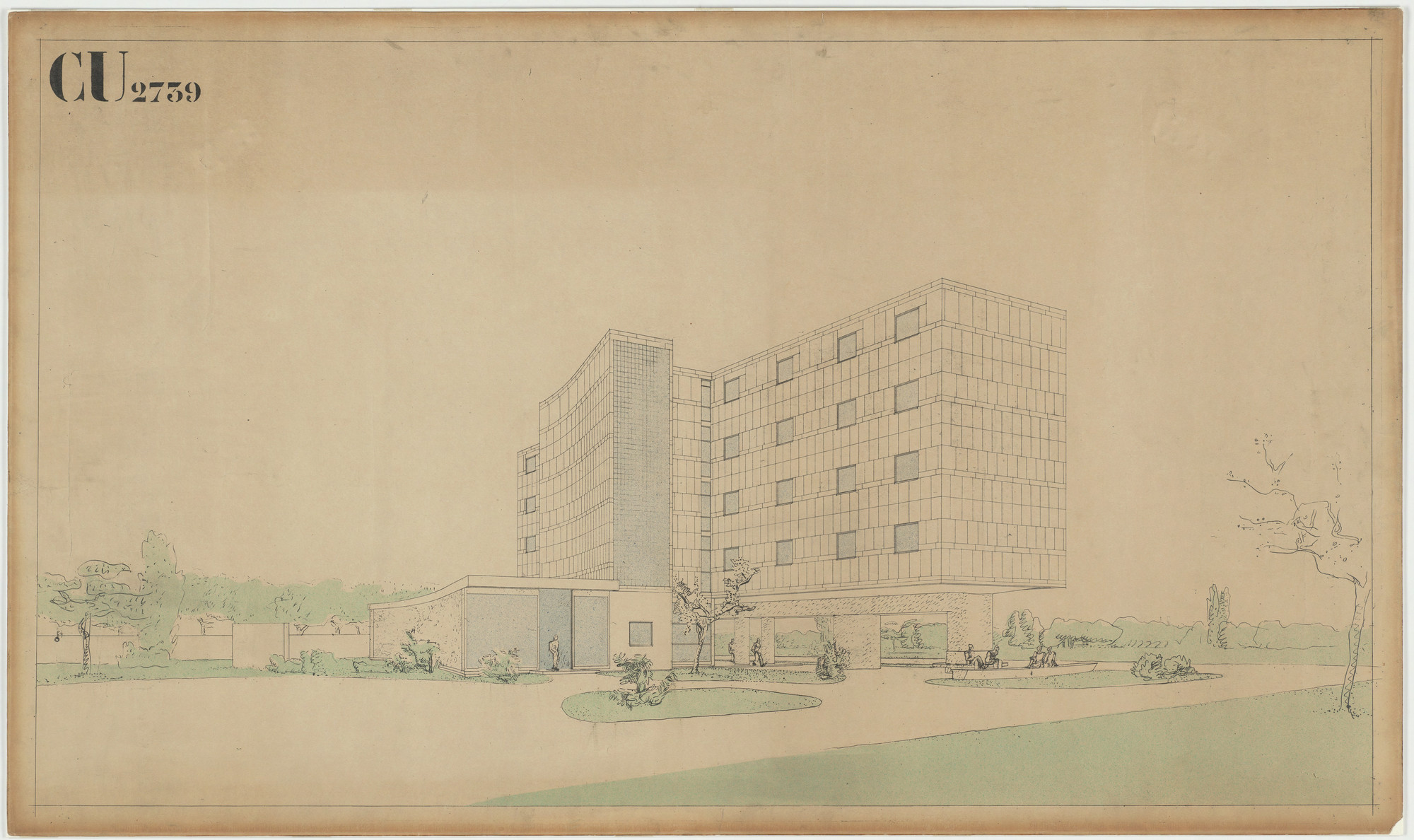 Le Corbusier (Charles-Édouard Jeanneret), Pierre Jeanneret. Swiss Pavilion, Cité internationale universitaire de Paris, France, Perspective of north and west elevations. 1932