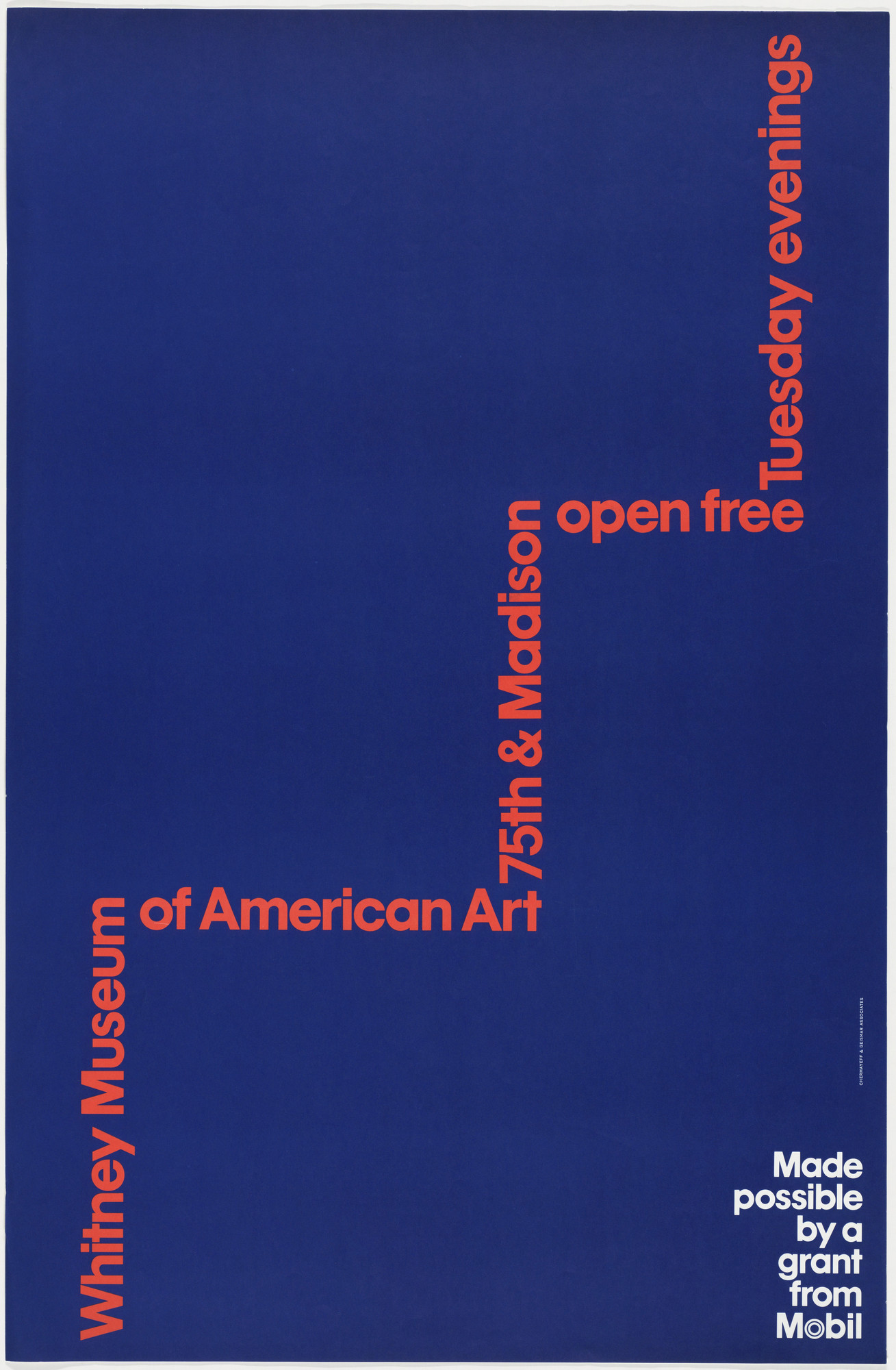 Ivan Chermayeff, Thomas Geismar. Whitney Museum of American Art, 75th & Madison, Open Free Tuesday Evenings. 1977