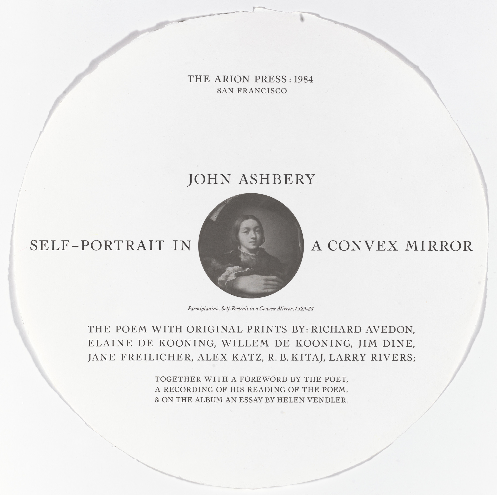 Various Artists, Richard Avedon, Jim Dine, Jane Freilicher, Alex Katz, R. B. Kitaj, Willem de Kooning, Elaine de Kooning, Larry Rivers. Self-Portrait in a Convex Mirror. 1984