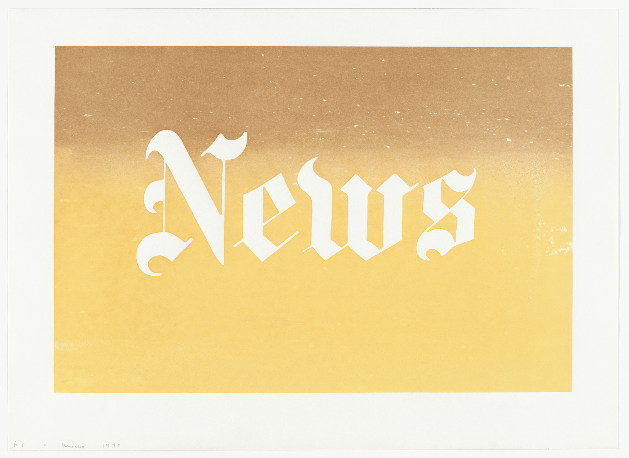 Edward Ruscha. News from News, Mews, Pews, Brews, Stews & Dues. 1970