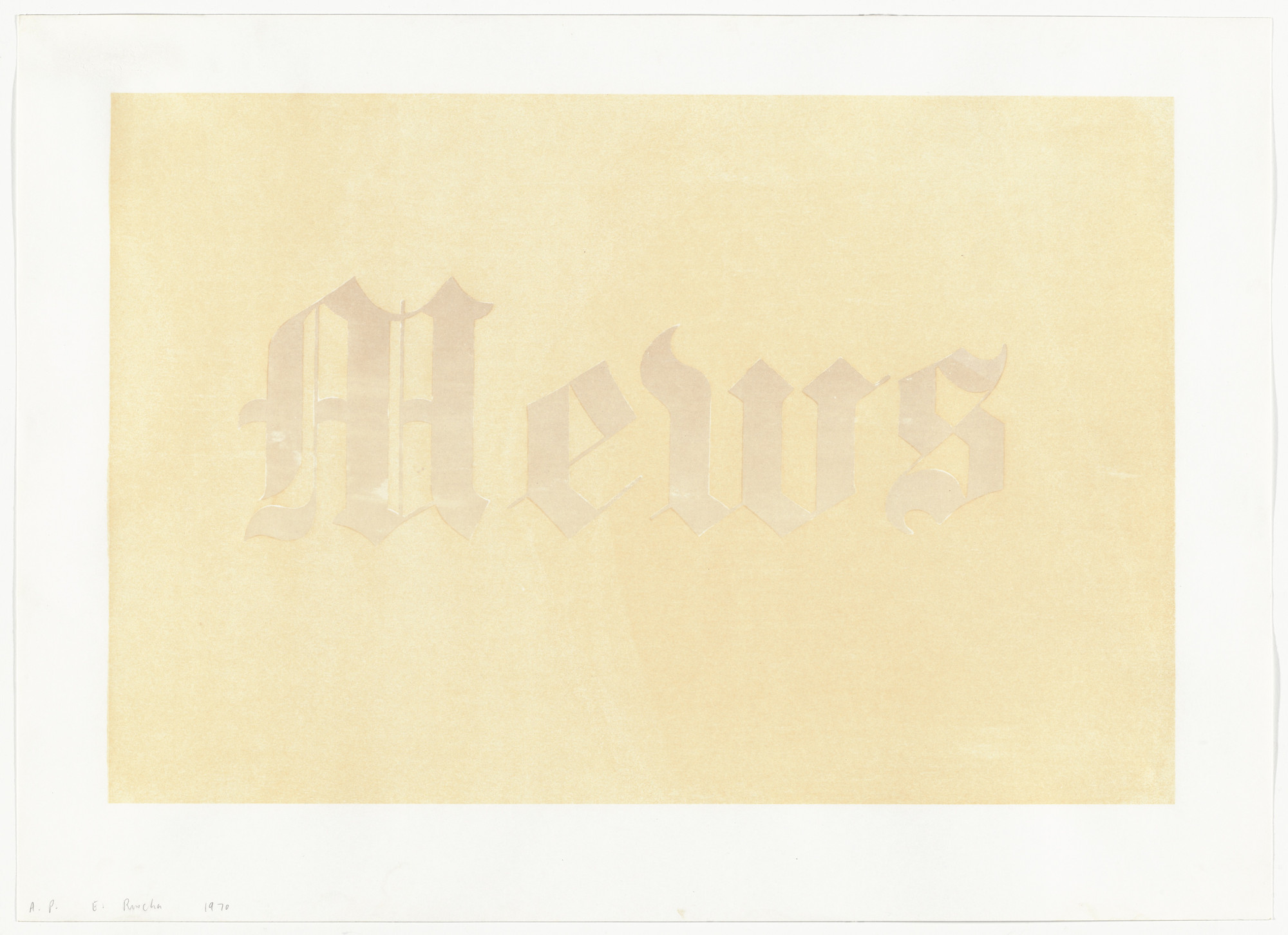 Edward Ruscha. Mews from News, Mews, Pews, Brews, Stews & Dues. 1970
