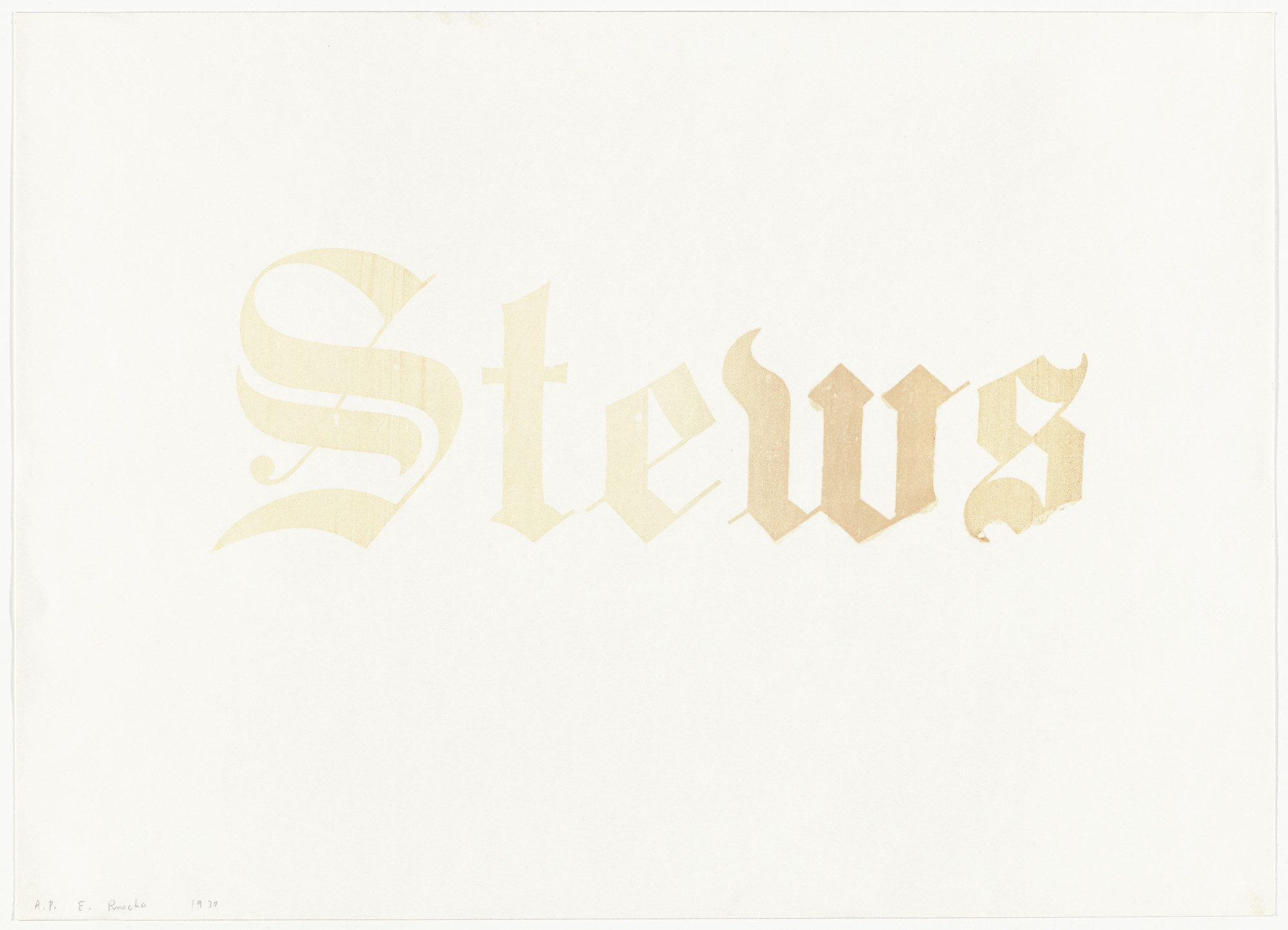 Edward Ruscha. Stews from News, Mews, Pews, Brews, Stews & Dues. 1970
