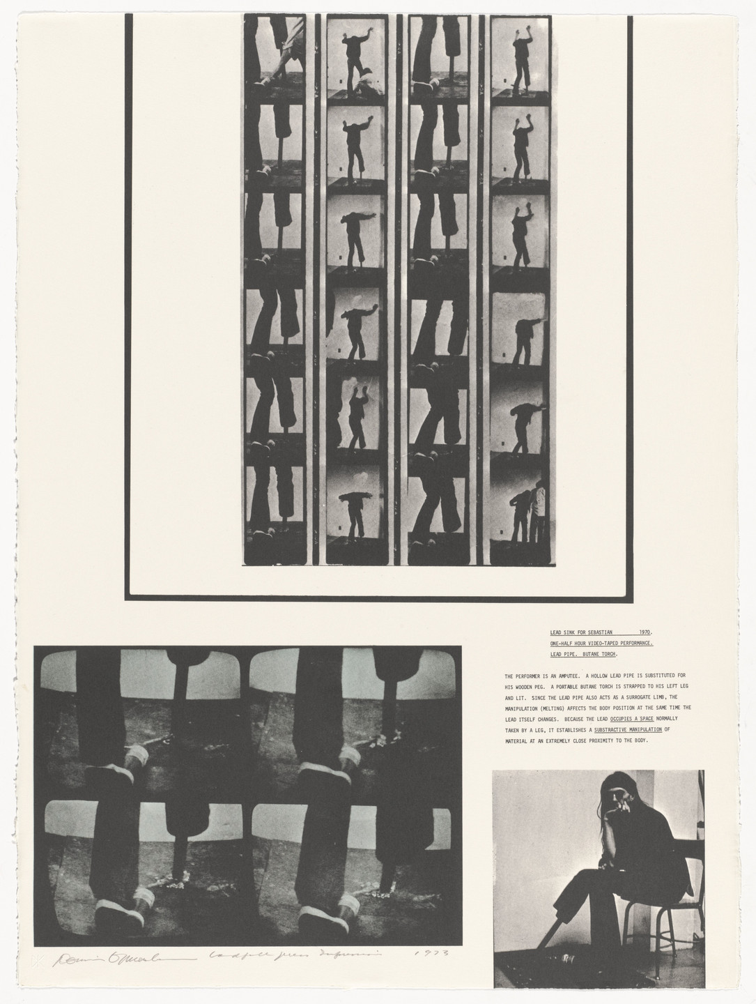 Dennis Oppenheim. Lead Sink For Sebastian. 1970 from Projects by Dennis Oppenheim. 1973