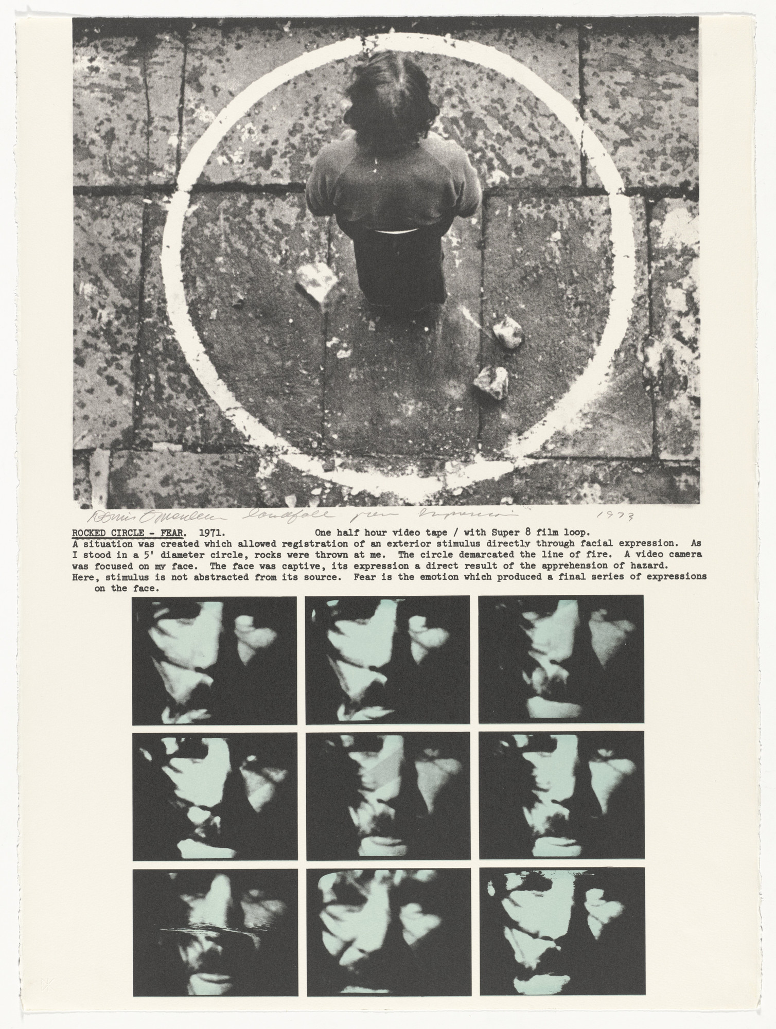 Dennis Oppenheim. Rocked Circle - Fear. 1971 from Projects by Dennis Oppenheim. 1973