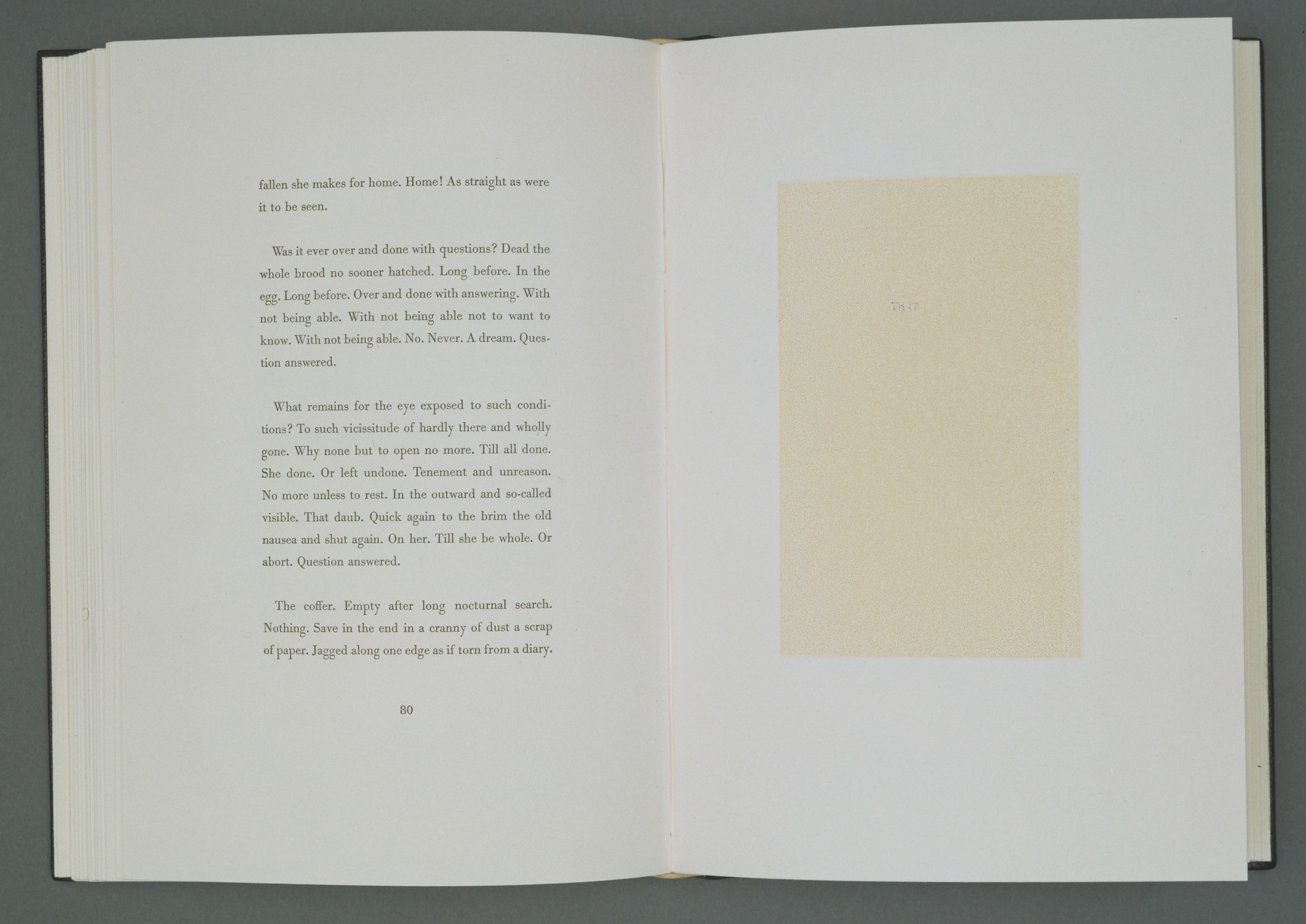 Robert Ryman. Plate (facing page 80) from Nohow On. 1989