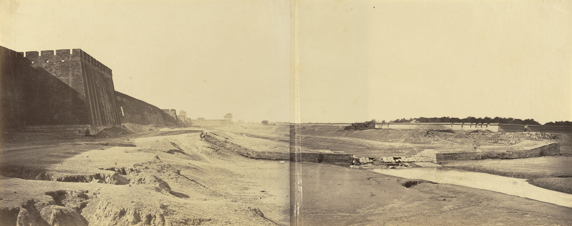 Felice Beato. Position Taken up by the English and French within the Enclosure of the Temple of the Earth Preparatory to Opening Fire on Pekin on 21st October 1860. Also Wall of Pekin and Anting Gate (Gate of Peace) Surrendered to the Allies on the Same Date,. 1860