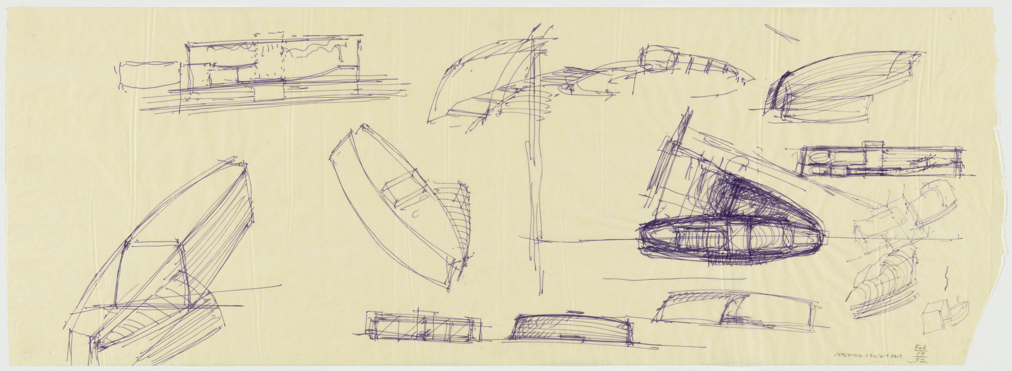 Arata Isozaki. Nara Convention Hall, Nara, Japan, Preliminary sketches. 1992