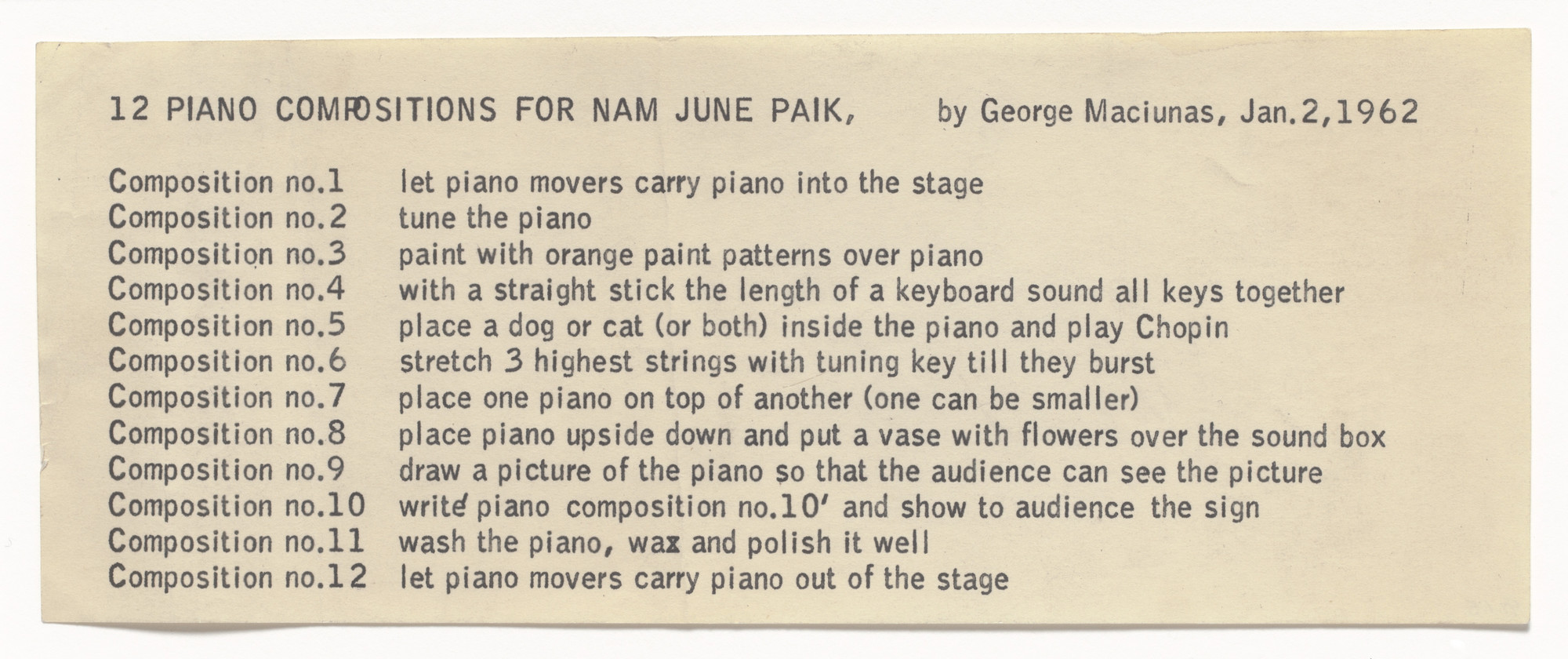 George Maciunas. 12 Piano Compositions for Nam June Paik. 1962