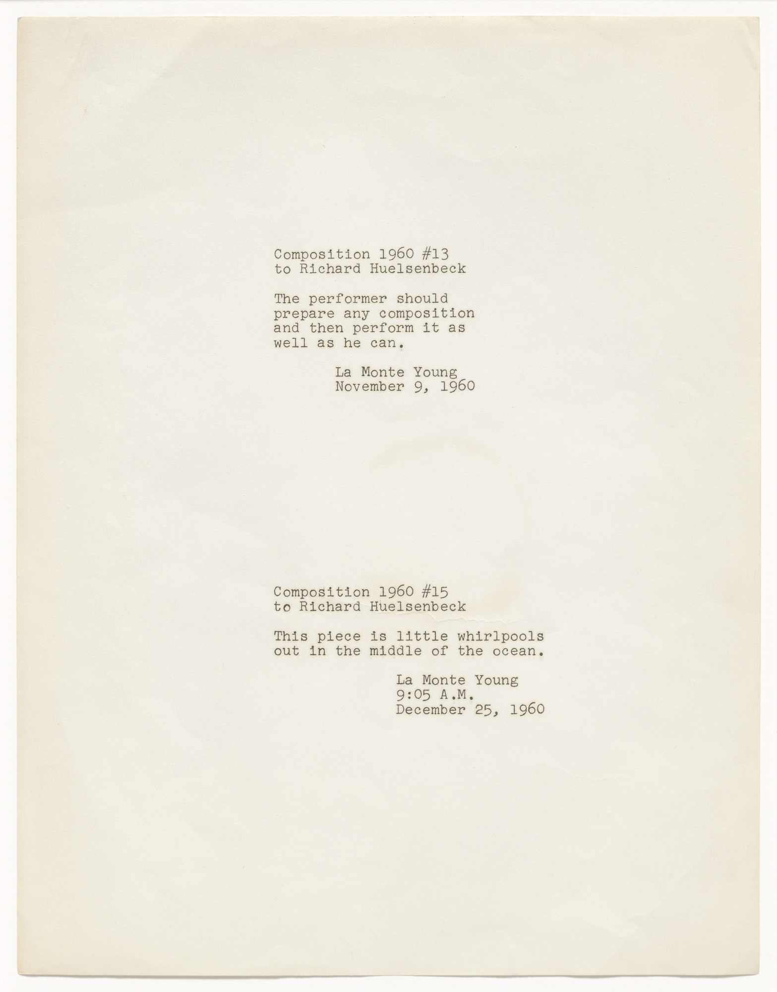 La Monte Young. Composition 1960 #13 to Richard Huelsenbeck and Composition 1960 #15 to Richard Huelsenbeck. 1960