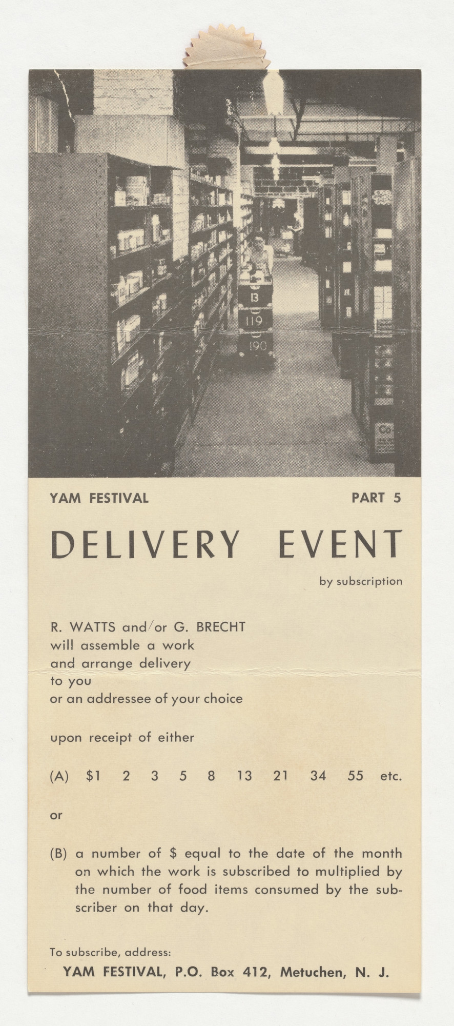 George Brecht, Robert Watts. Announcement card for Delivery Event (Yam Festival Part 5). 1962