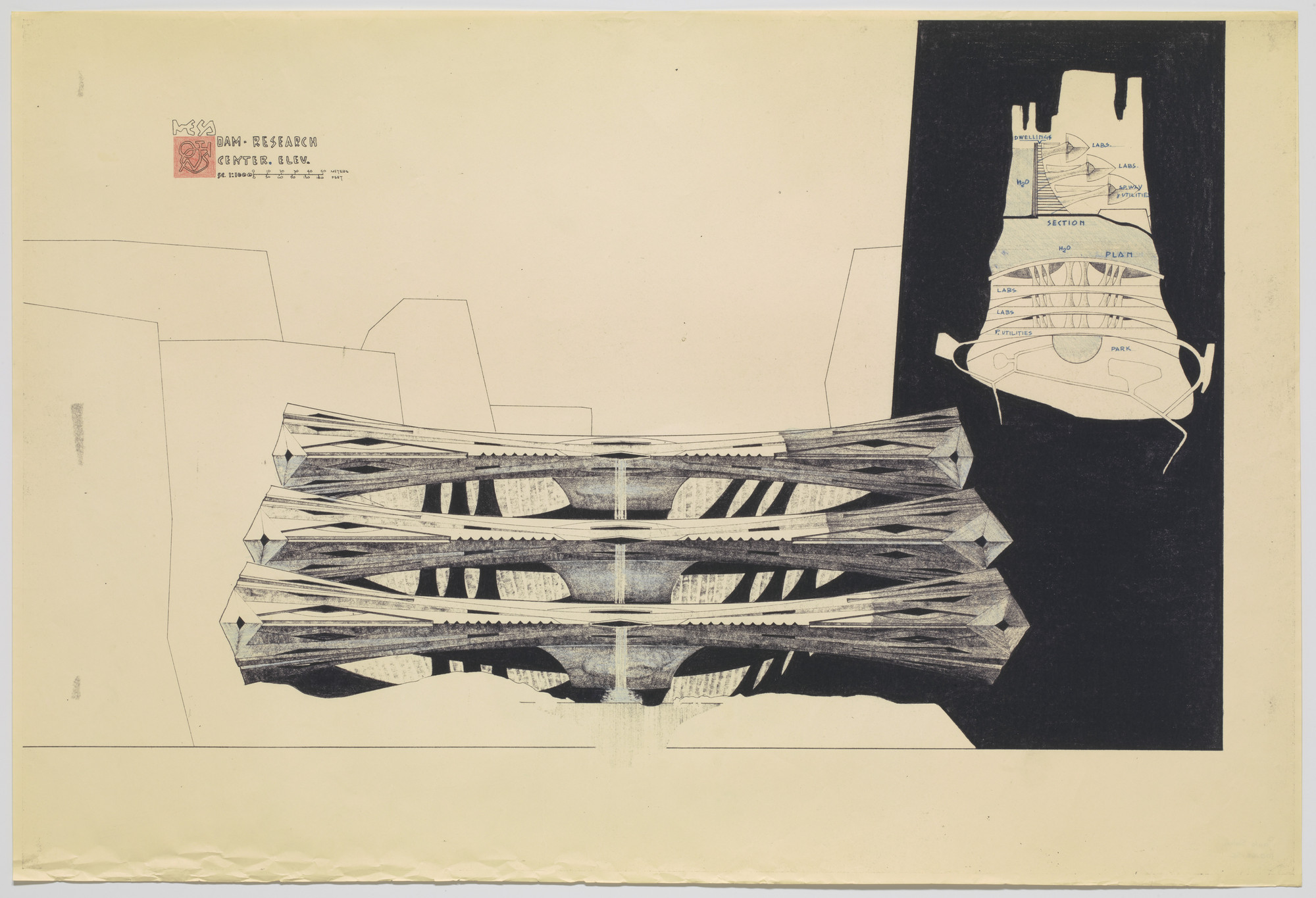 Paolo Soleri. Dam–Research Center Project (Plan and section). c.1960