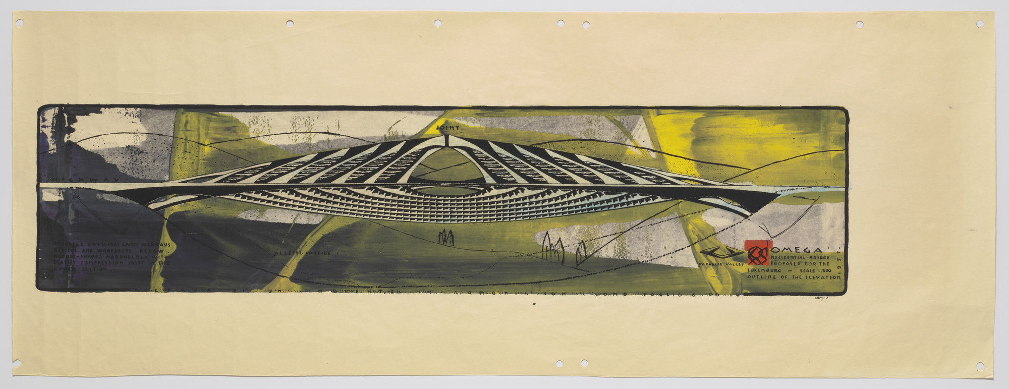 Paolo Soleri. Omega Residential Bridge Project, Luxembourg, Elevation. 1957