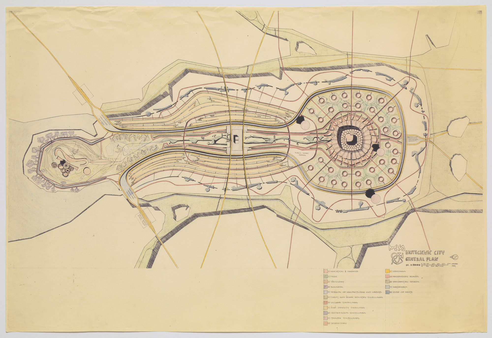 Paolo Soleri. Mesa City Project, Plan. 1960