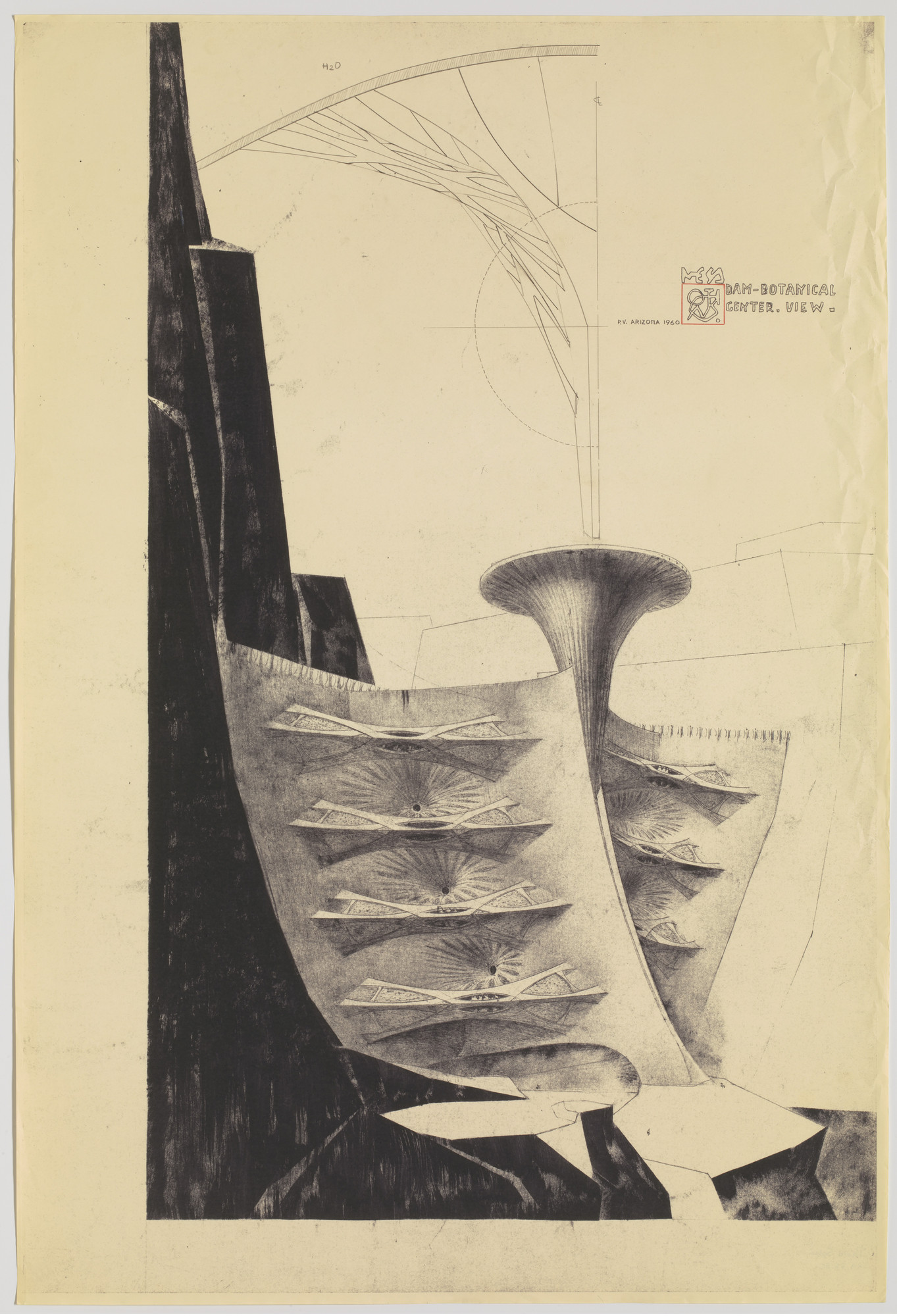 Paolo Soleri. Dam–Botanical Center Project (Perspective). c.1960