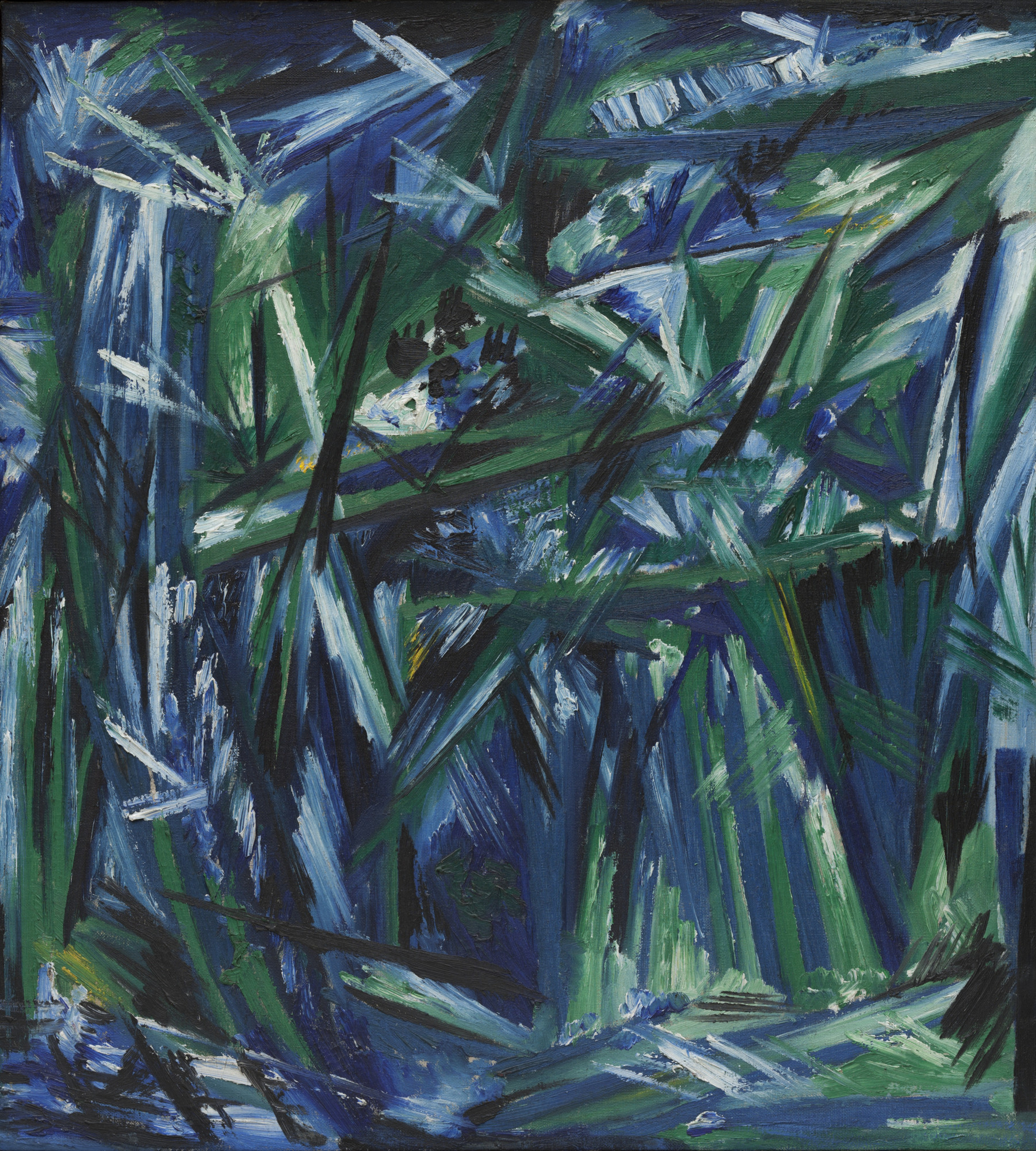 Natalia Goncharova. Rayonism, Blue-Green Forest. 1913 (dated on reverse 1911)