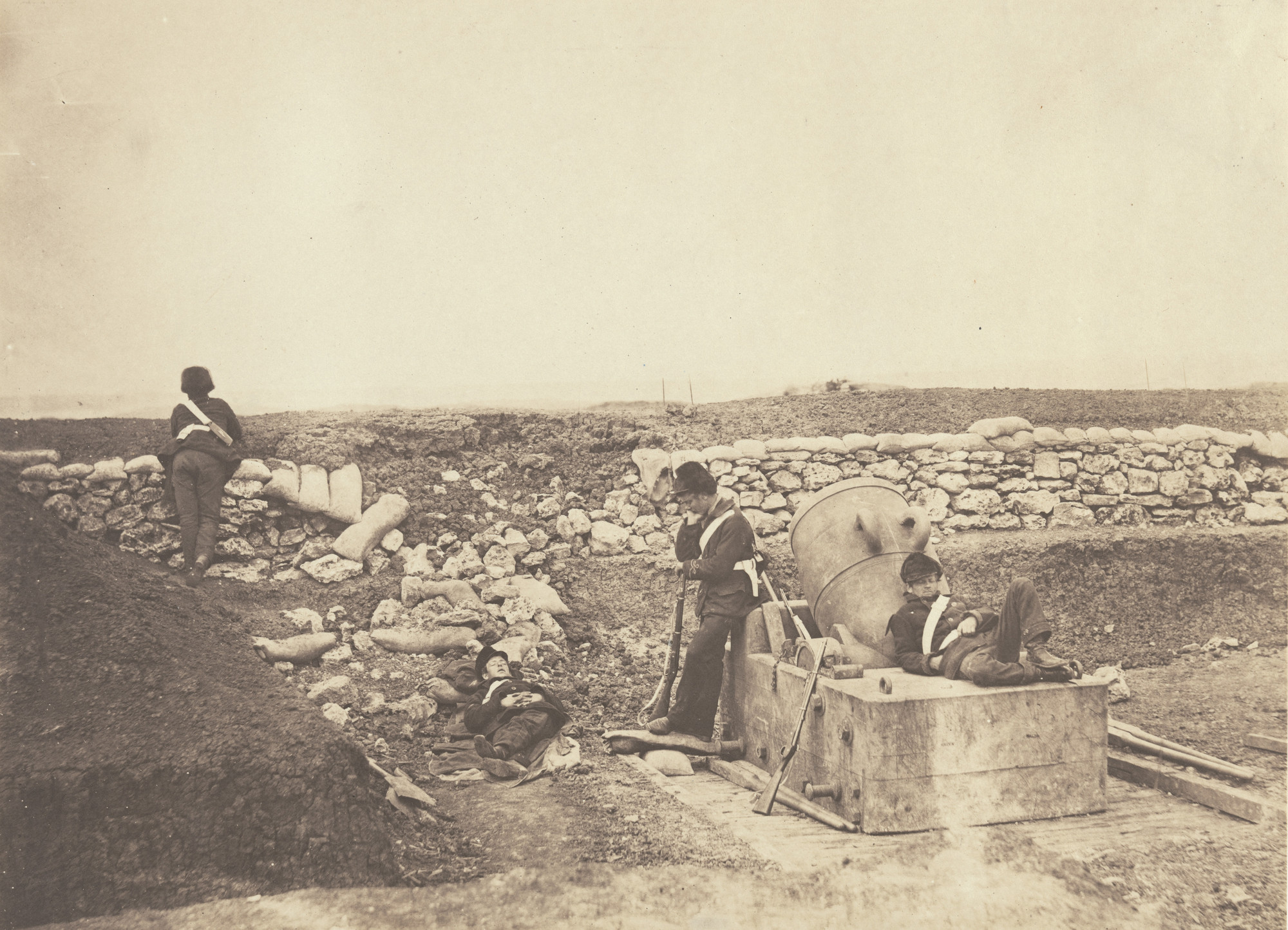 Roger Fenton. A Quiet Day in the Mortar Battery. 1855