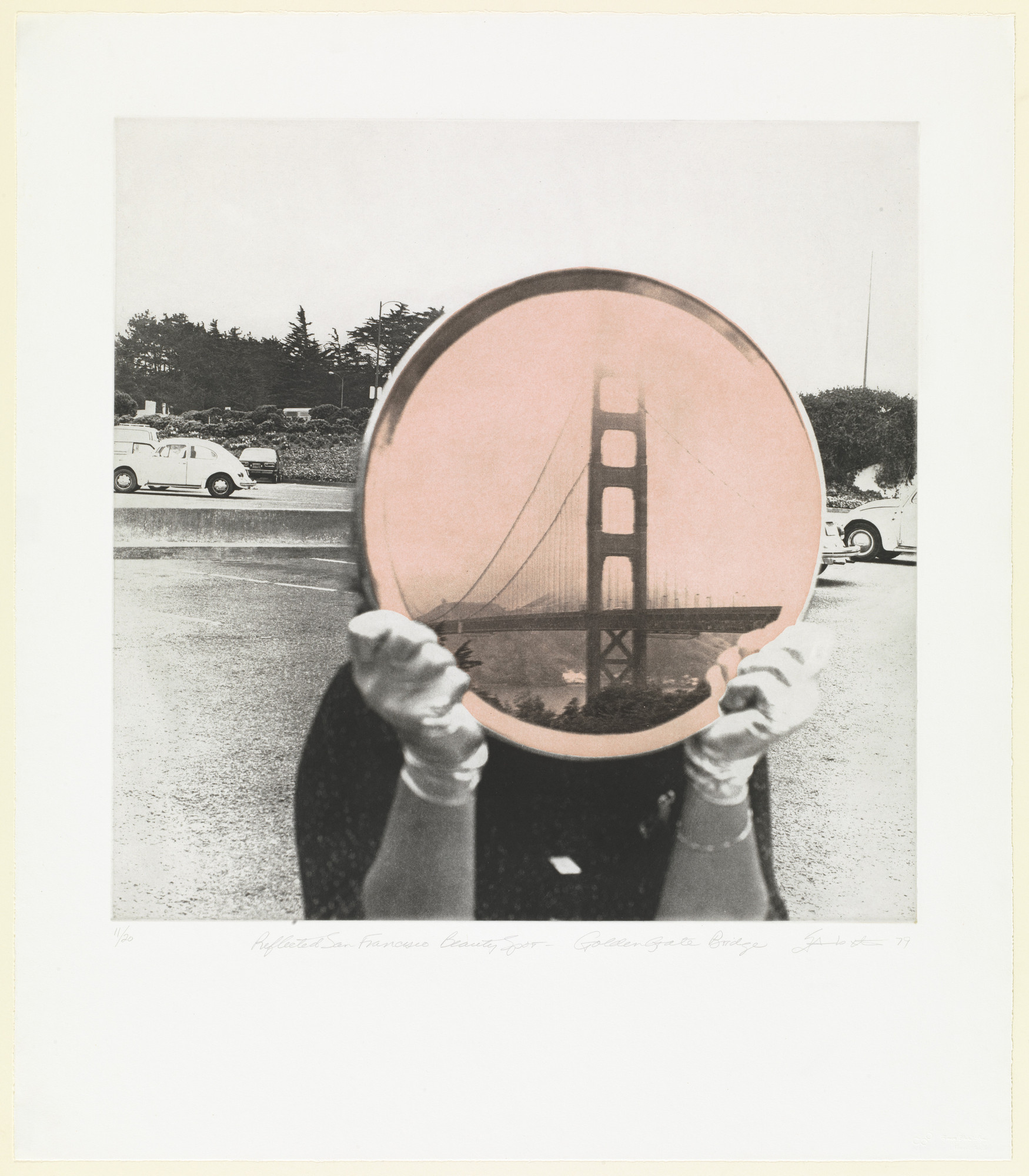 Iain Baxter&. Golden Gate Bridge from Reflected San Francisco Beauty Spots. 1979