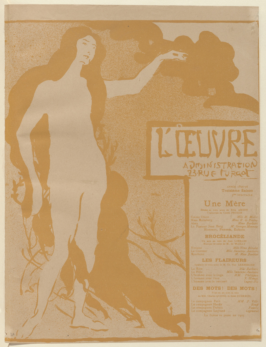 Maxime Dethomas. Program for A Mother (Une Mère), Brocéliande, The Sniffers (Les Flaireurs) and Words! Words! (Des mots! des mots!) from The Beraldi Album of Theatre Programs. 1896