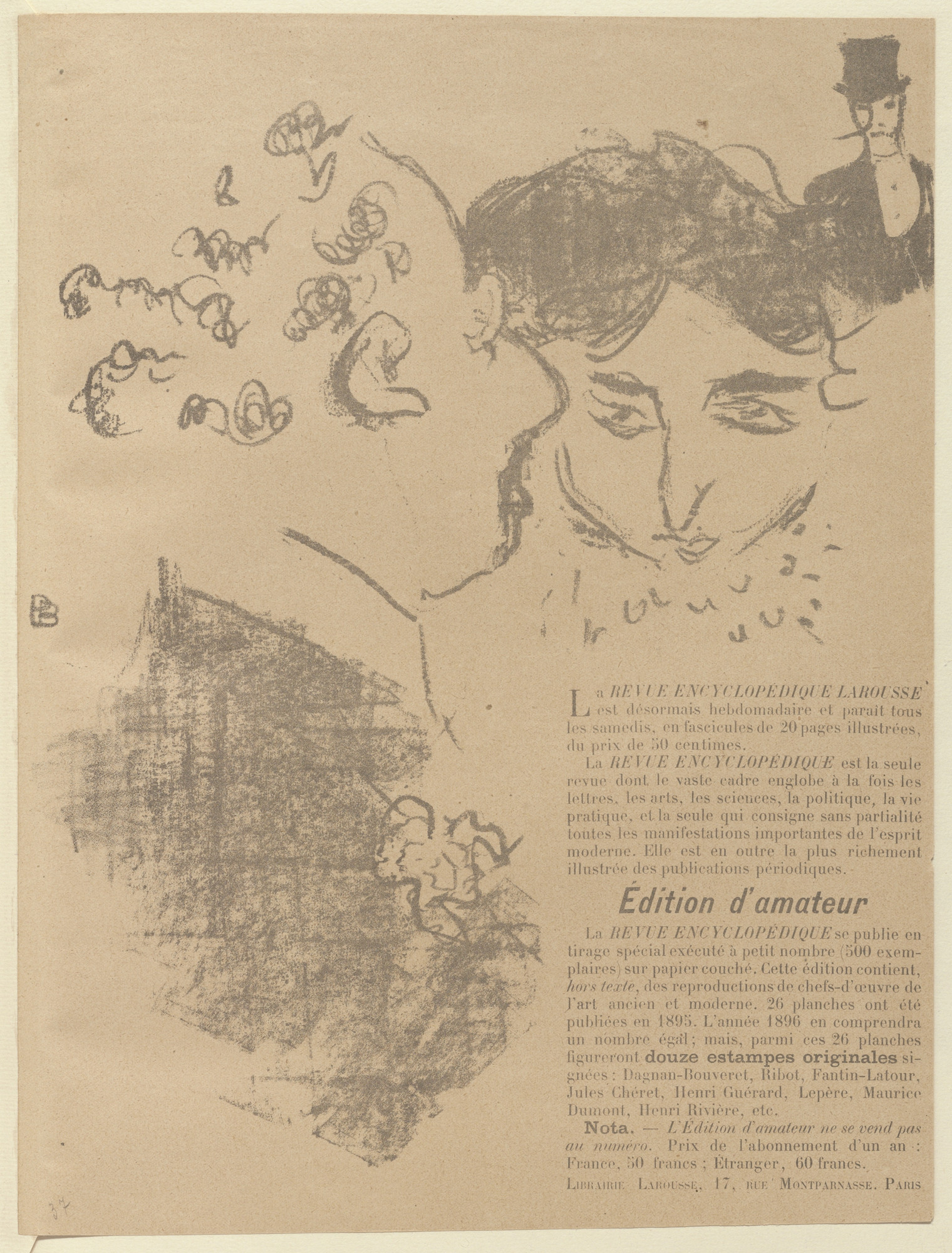 Pierre Bonnard. Advertisement for Revue encyclopédique Larousse from The Beraldi Album of Theatre Programs. 1896