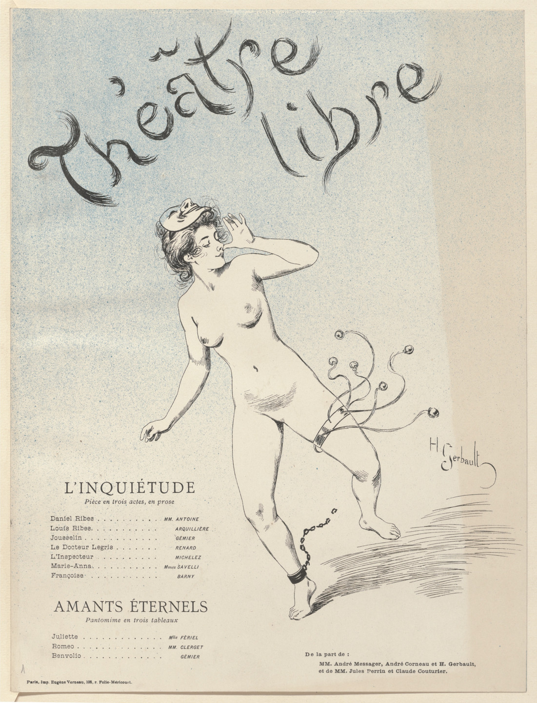 Henri Gerbault. Program for Anxiety (L'Inquiétude) and Eternal lovers (Amants éternels) from The Beraldi Album of Theatre Programs. 1893