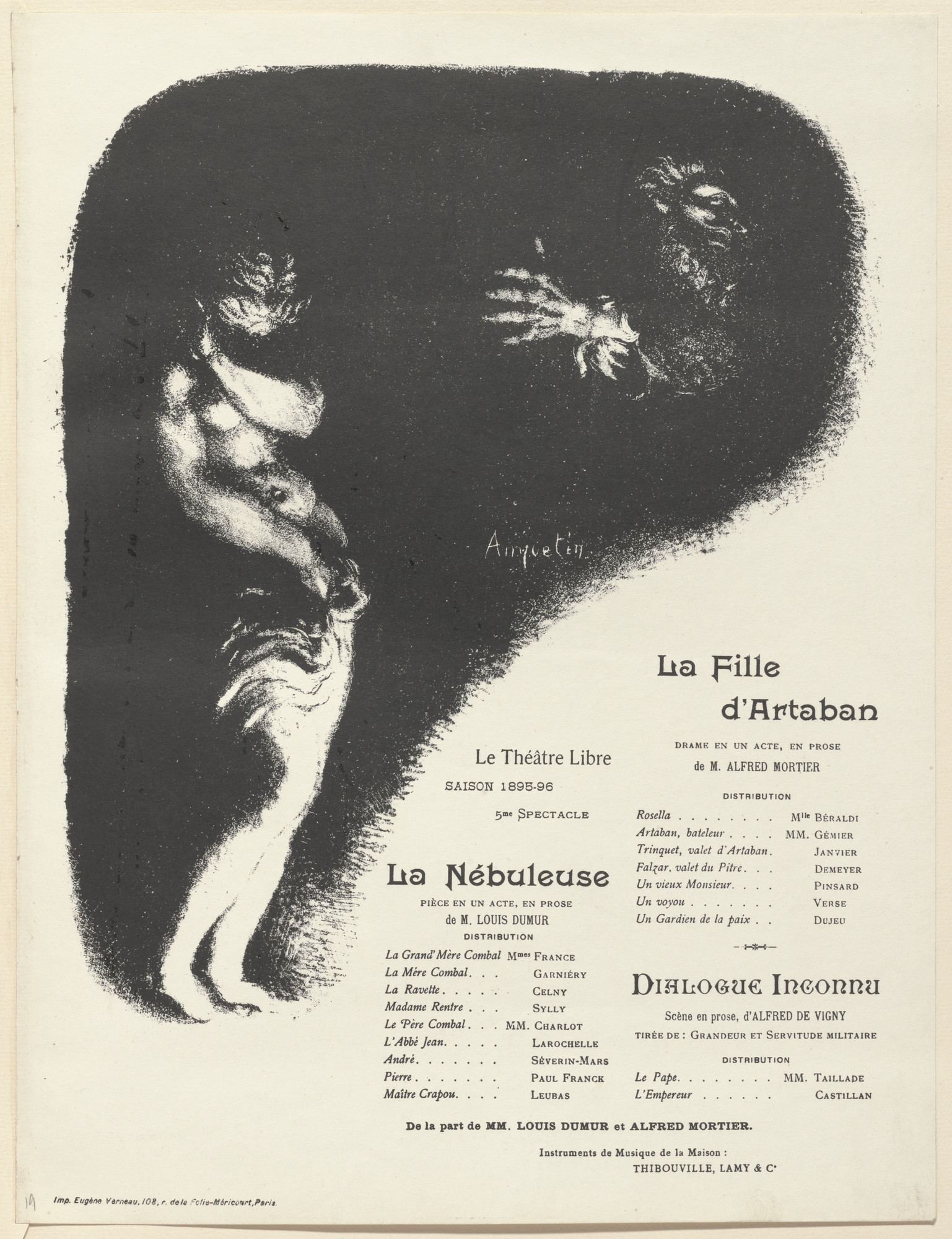 Louis Anquetin. Program for The Daughter of Artabanus (La Fille d'Artaban), The Nebula (La Nébuleuse) and Unknown Dialogue (Dialogue inconnu) from The Beraldi Album of Theatre Programs. 1896