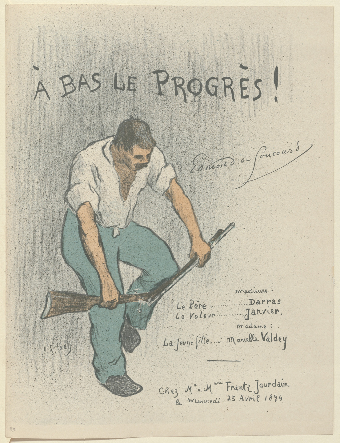 Henri-Gabriel Ibels. Program for Down with Progress! (A bas le progrès!) from The Beraldi Album of Theatre Programs. 1894