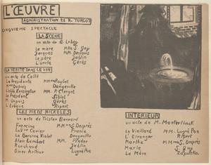 Program for The Scene (La Scène), Truth in Wine (La Vérité dans le vin), Nickel-plated feet (Les Pieds nickelés) and Interior (Intérieur) from The Beraldi Album of Theatre Programs