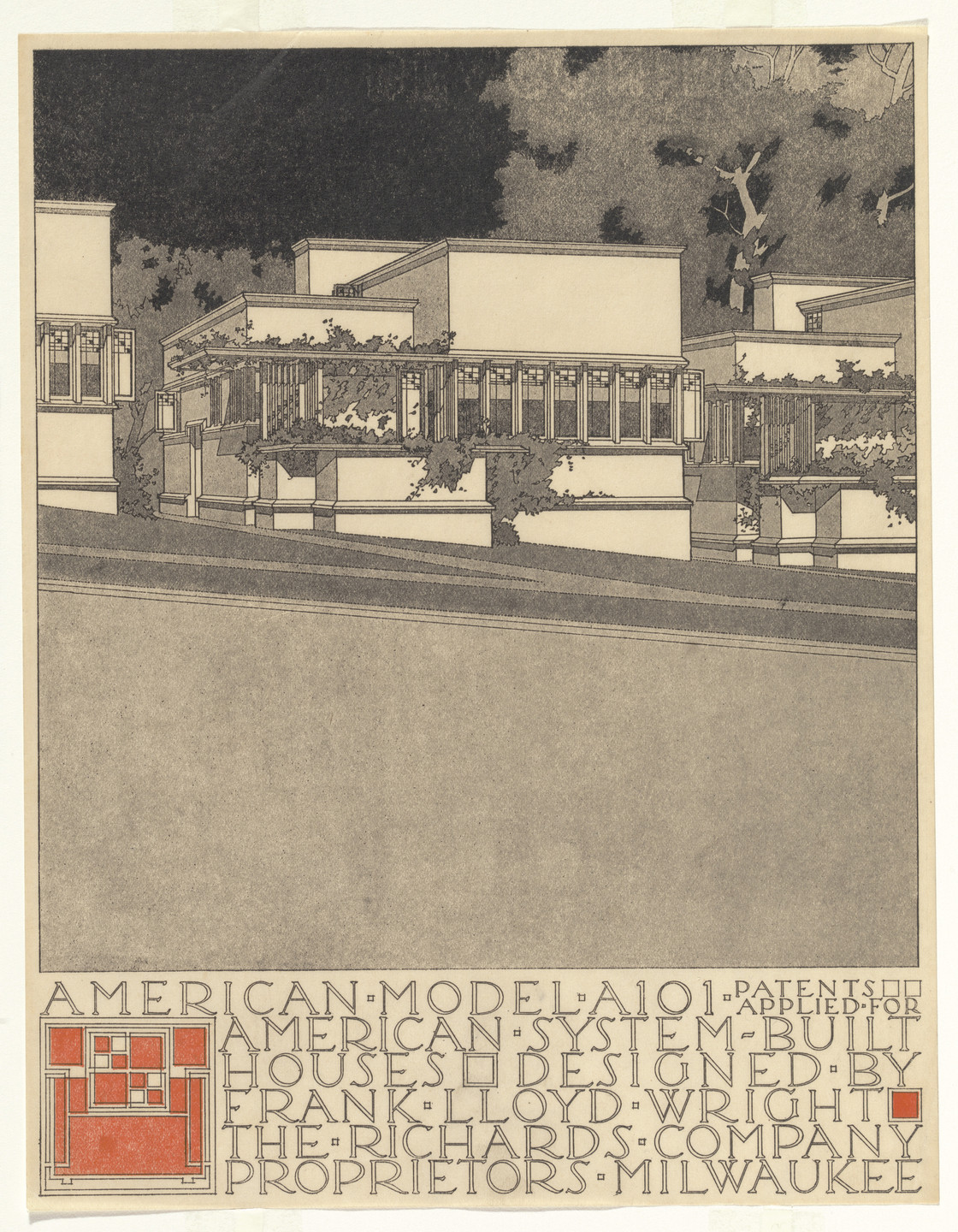 Frank Lloyd Wright. American System-Built Houses for The Richards Company project (Exterior perspective of model A101). 1915–1917