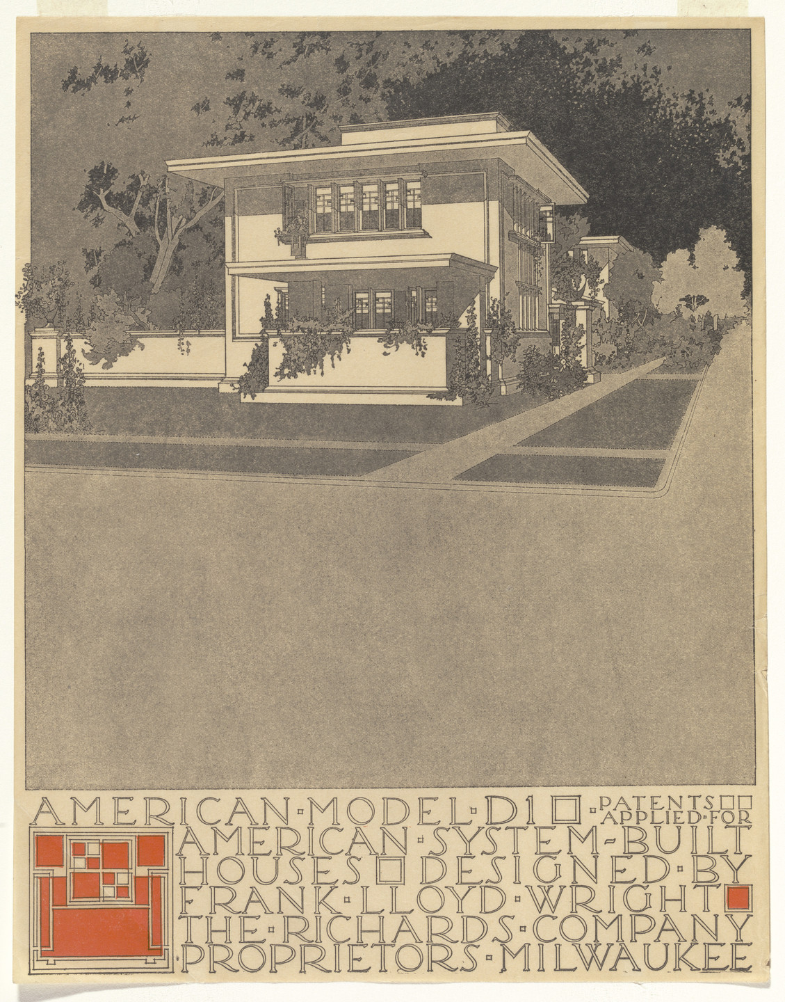 Frank Lloyd Wright. American System-Built Houses for The Richards Company project, Milwaukee, Wisconsin (Exterior perspective). 1915-17